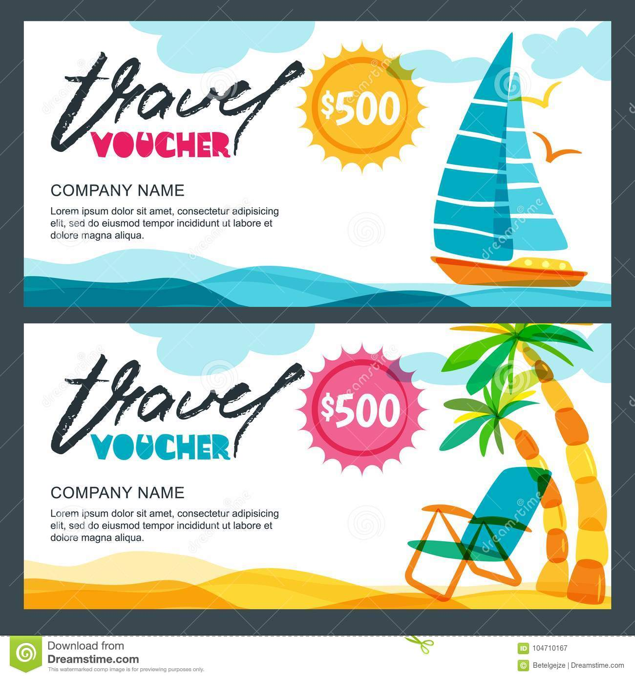 Vector Gift Travel Voucher Template Concept For Summer Vacation And