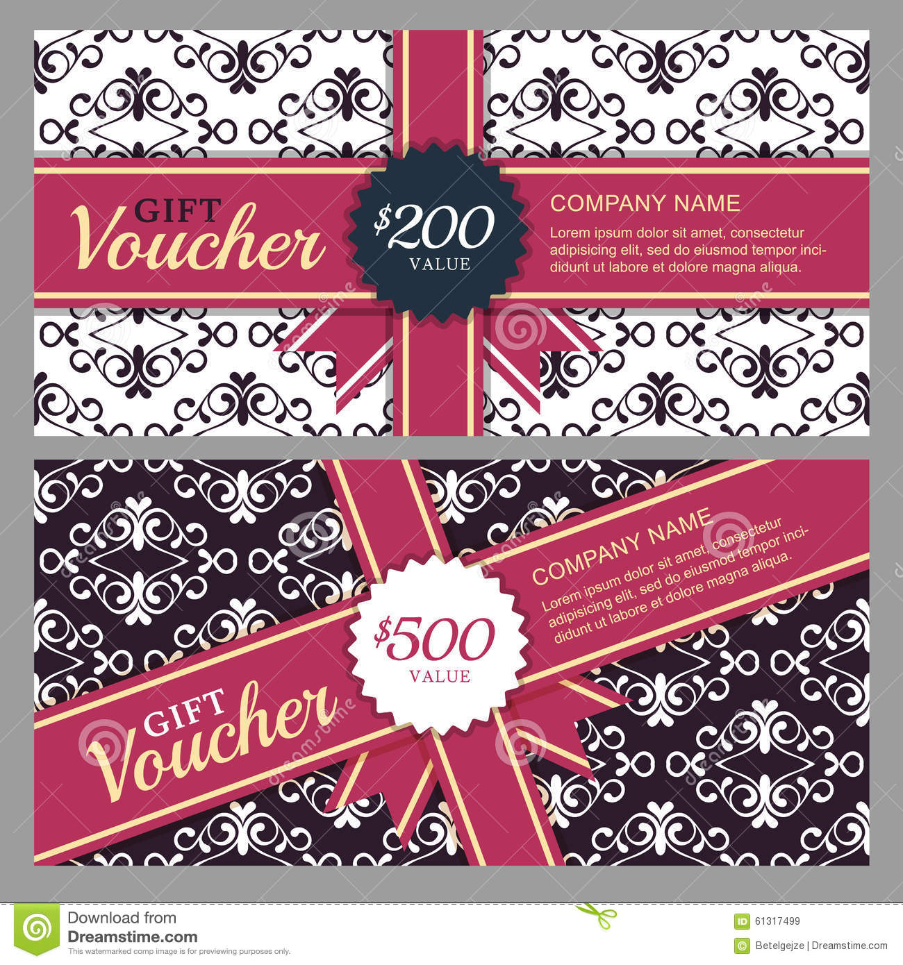 vector gift voucher with black and white ornament