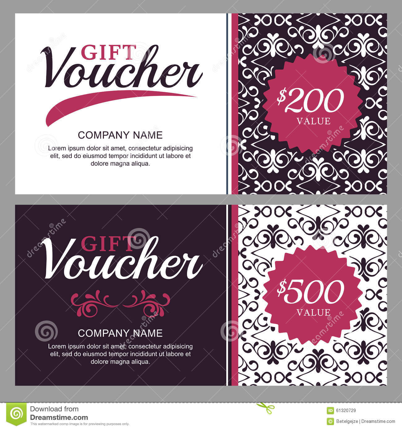 Vector Gift Voucher With Black And White Ornament ...