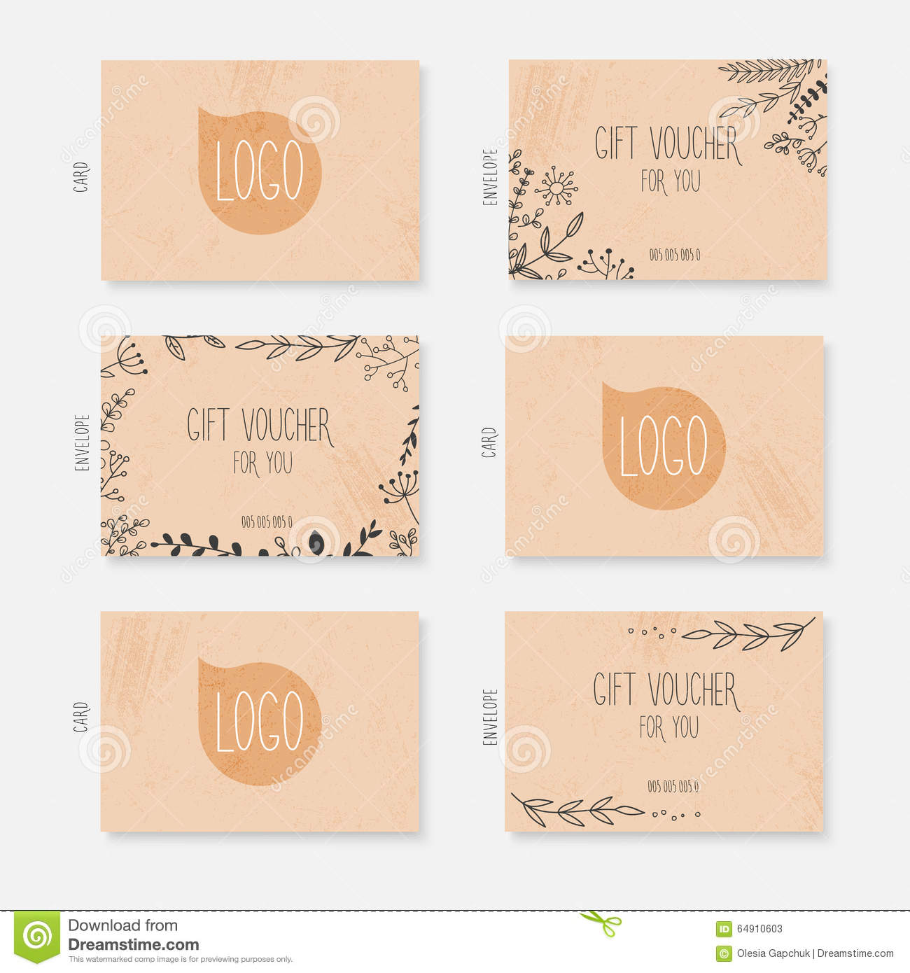 Vector Gift Voucher Card Template With Hand Drawn Leaves Backgr – Voucher Card Template