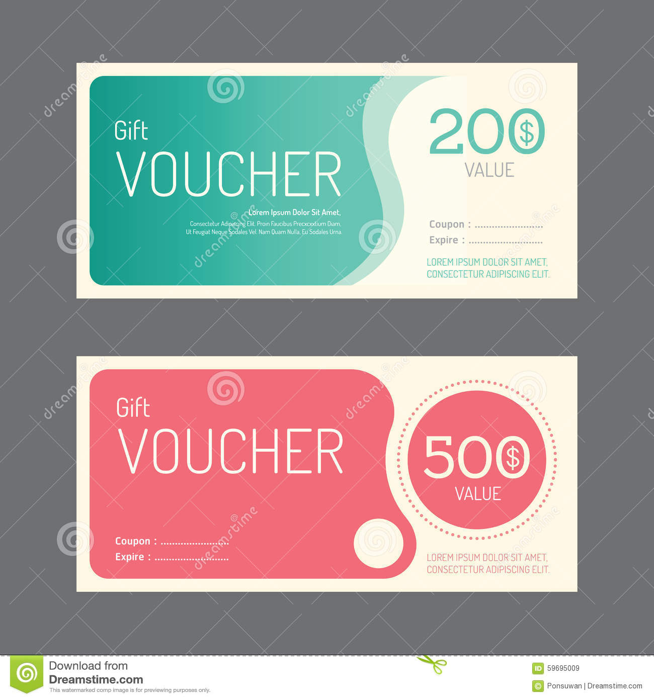 vector gift voucher coupon template design paper label frame stock