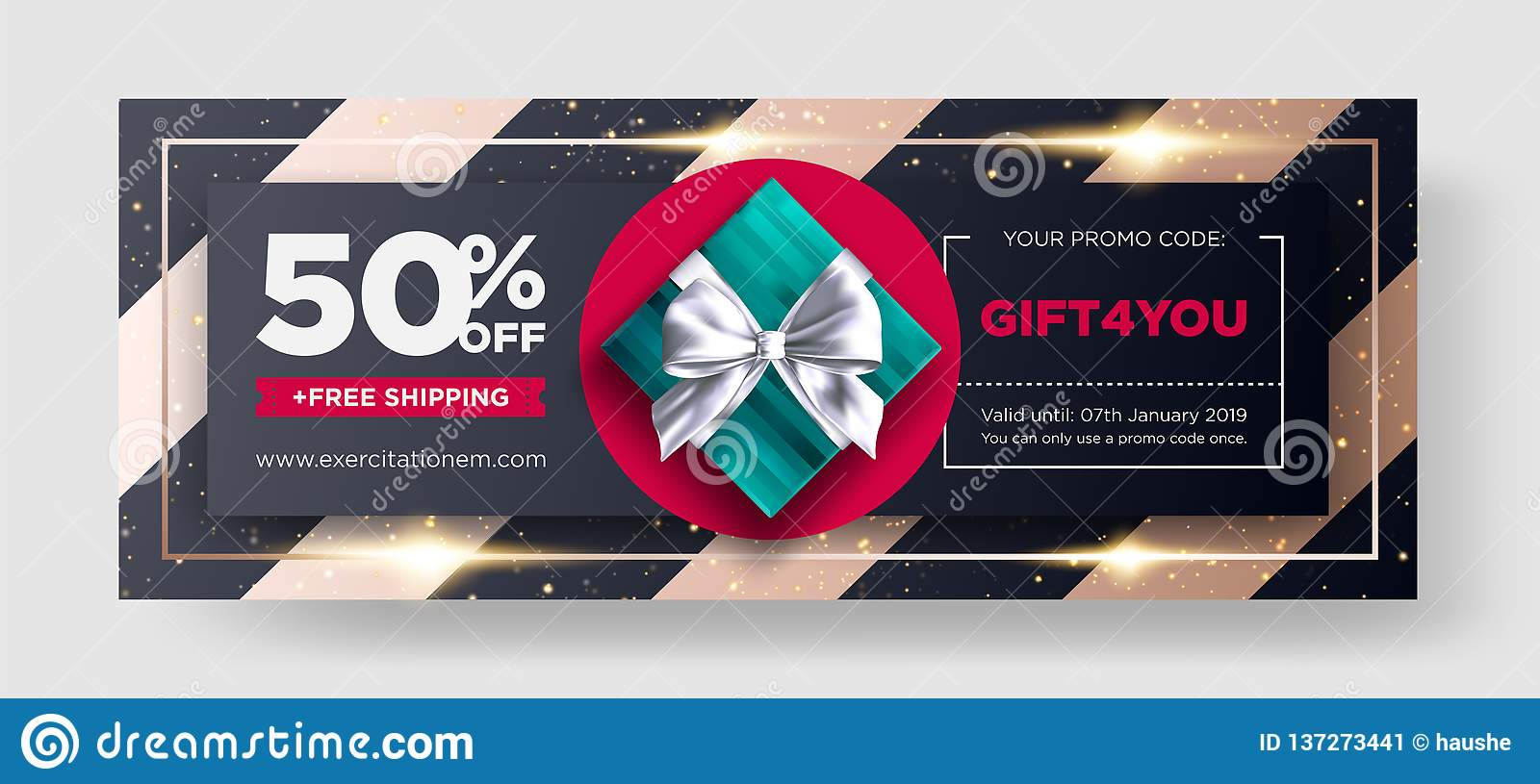 Vector Gift Voucher. Restaurant Discount Coupon Design with Promo Code. Certificate Template for Online Shopping. Marketing Flyer