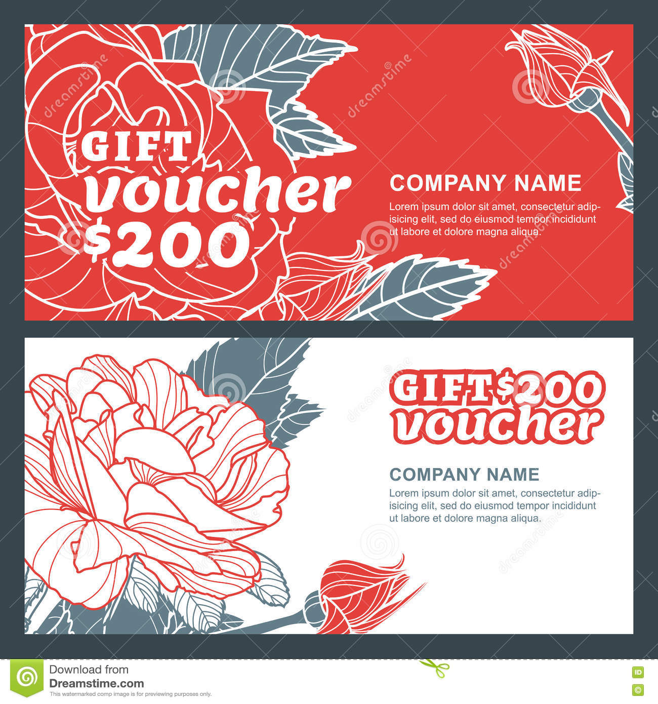 Vector Gift Voucher, Summer Design With Red Roses Flowers