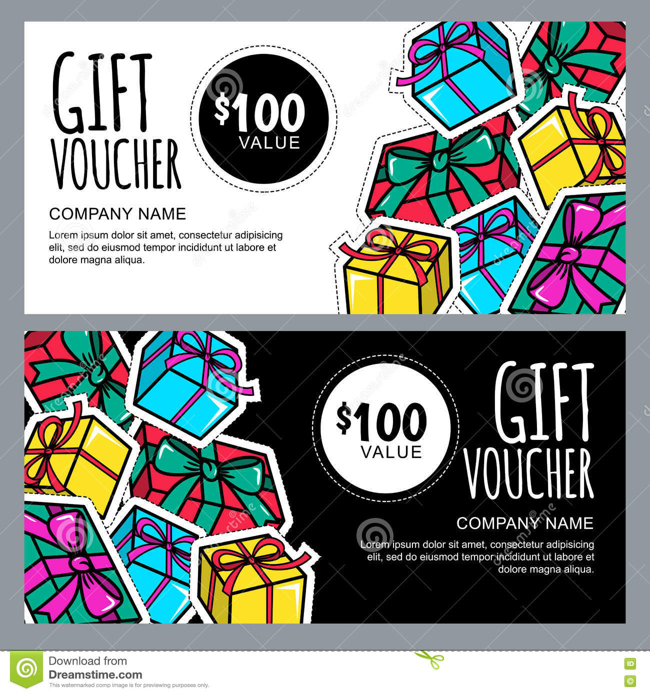 Vector Gift Voucher Template With Gift Box Patches And Stickers – Fun Voucher Template
