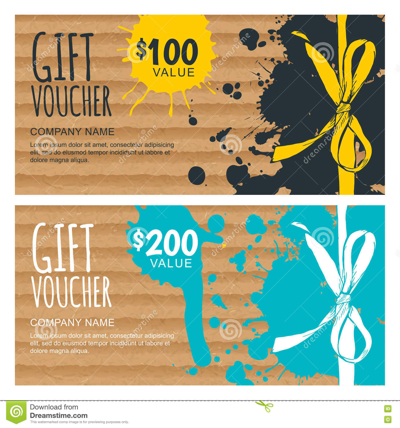 vector gift voucher template hand drawn bow ribbon stock vector vector gift voucher template hand drawn bow ribbon