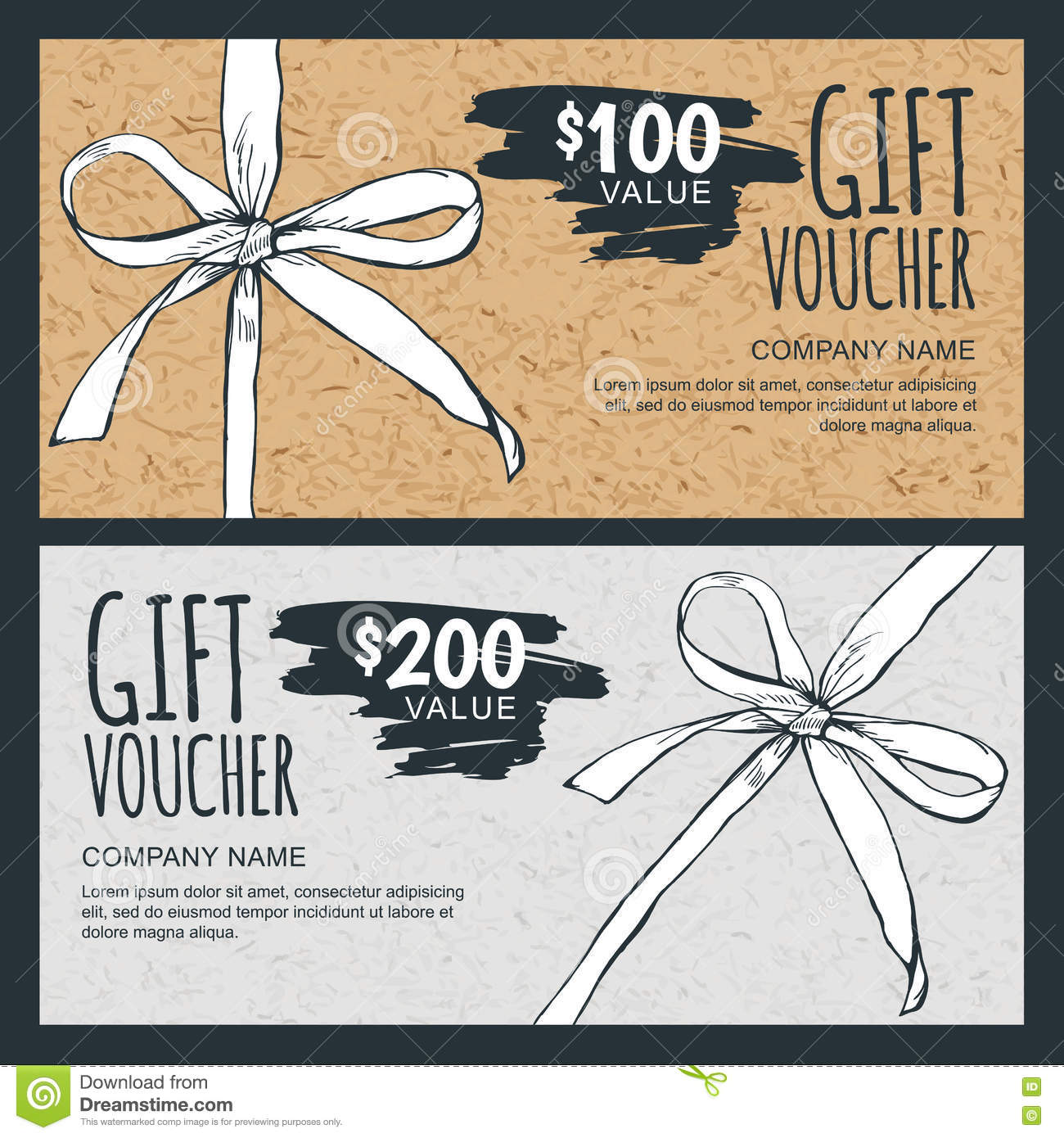 Vector Gift Voucher Template With Hand Drawn Bow Ribbon ...