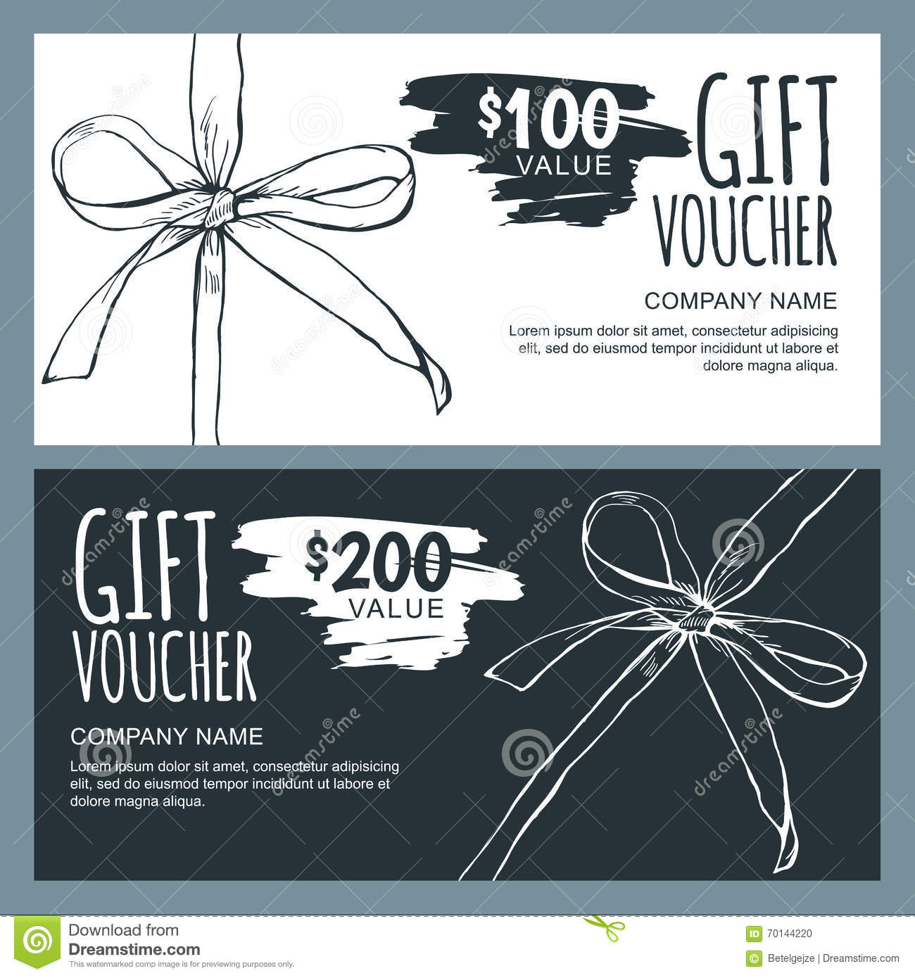 vector gift voucher template with hand drawn outline bow
