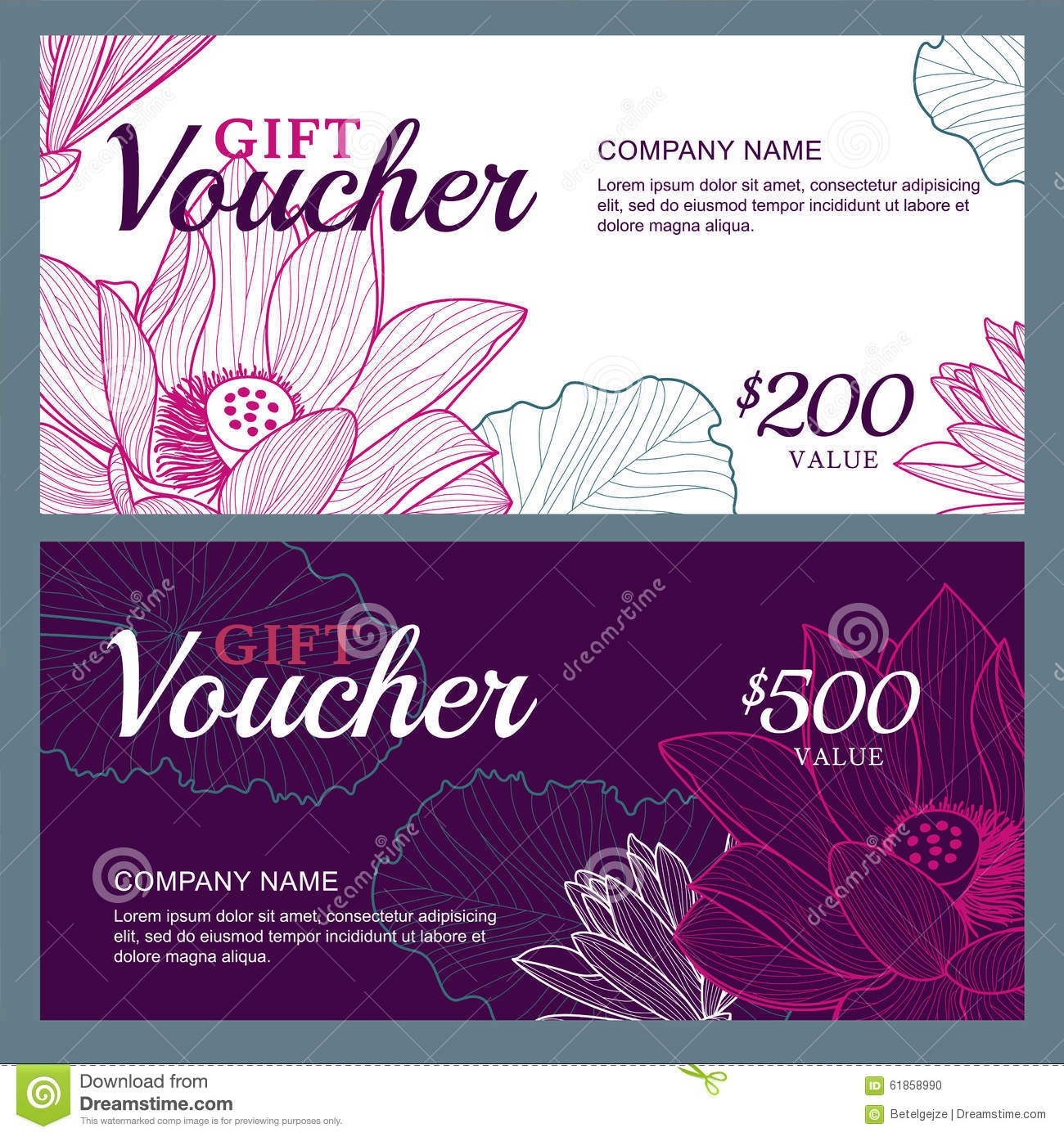 Vector Gift Voucher Template With Lotus Lily Flowers