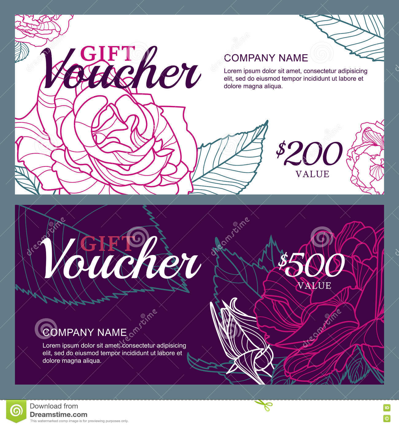 Vector Gift Voucher Template With Pink Roses Flowers Business