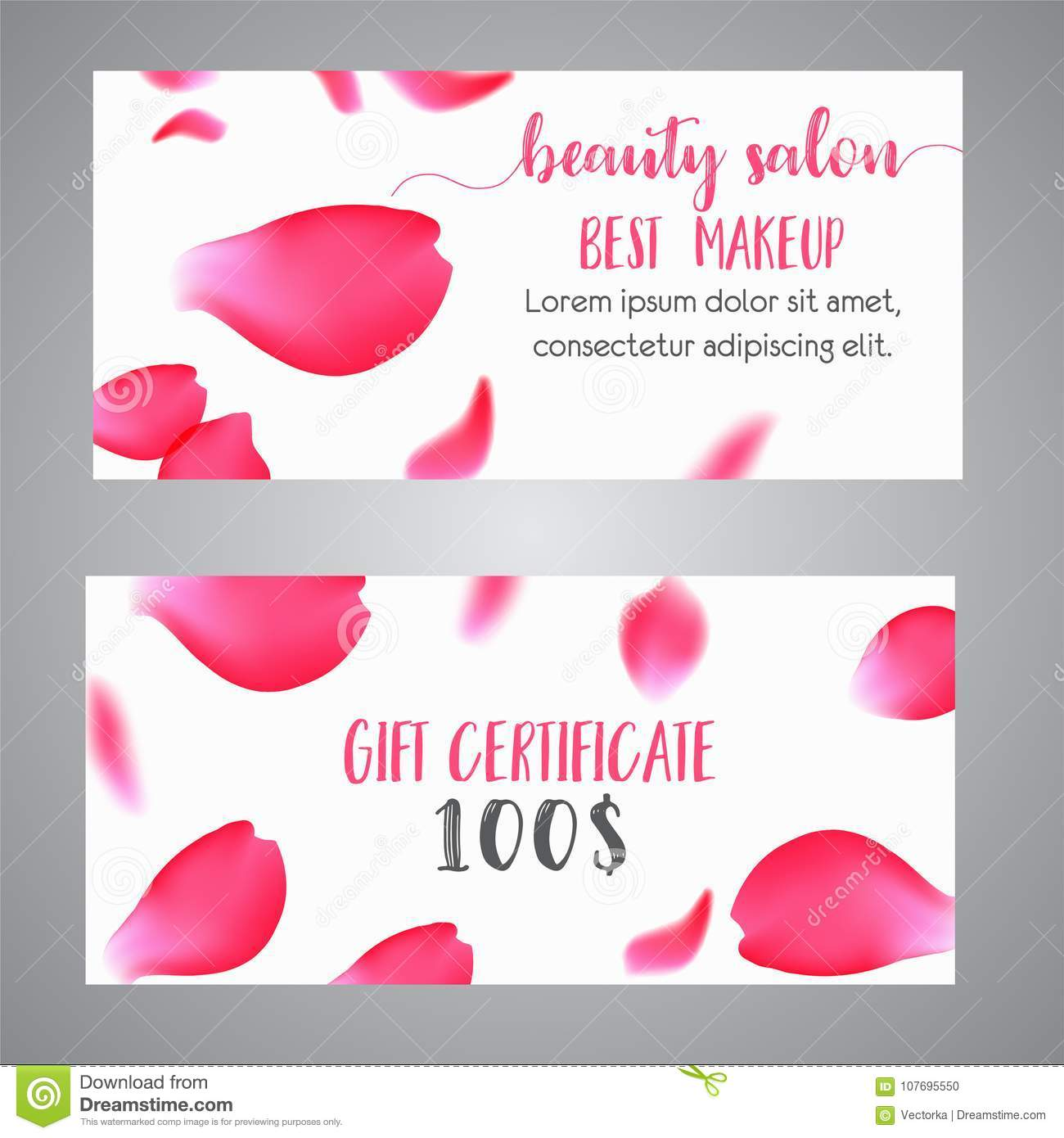 vector gift voucher template with rose petals business floral card template concept for boutique - Makeup Gift Certificate Template