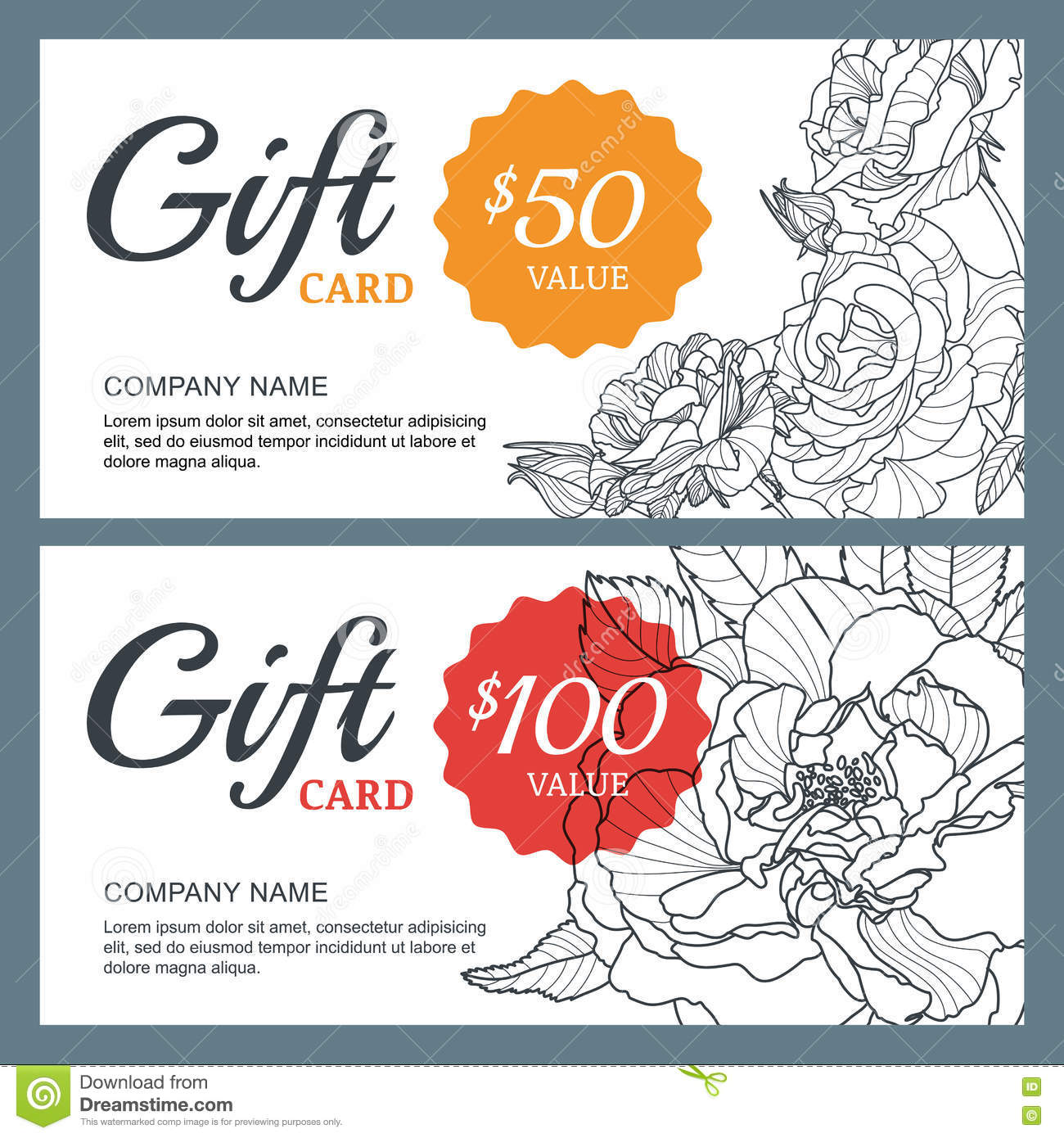 Vector gift voucher template with roses flowers business floral vector gift voucher template with roses flowers business floral card template wajeb Gallery