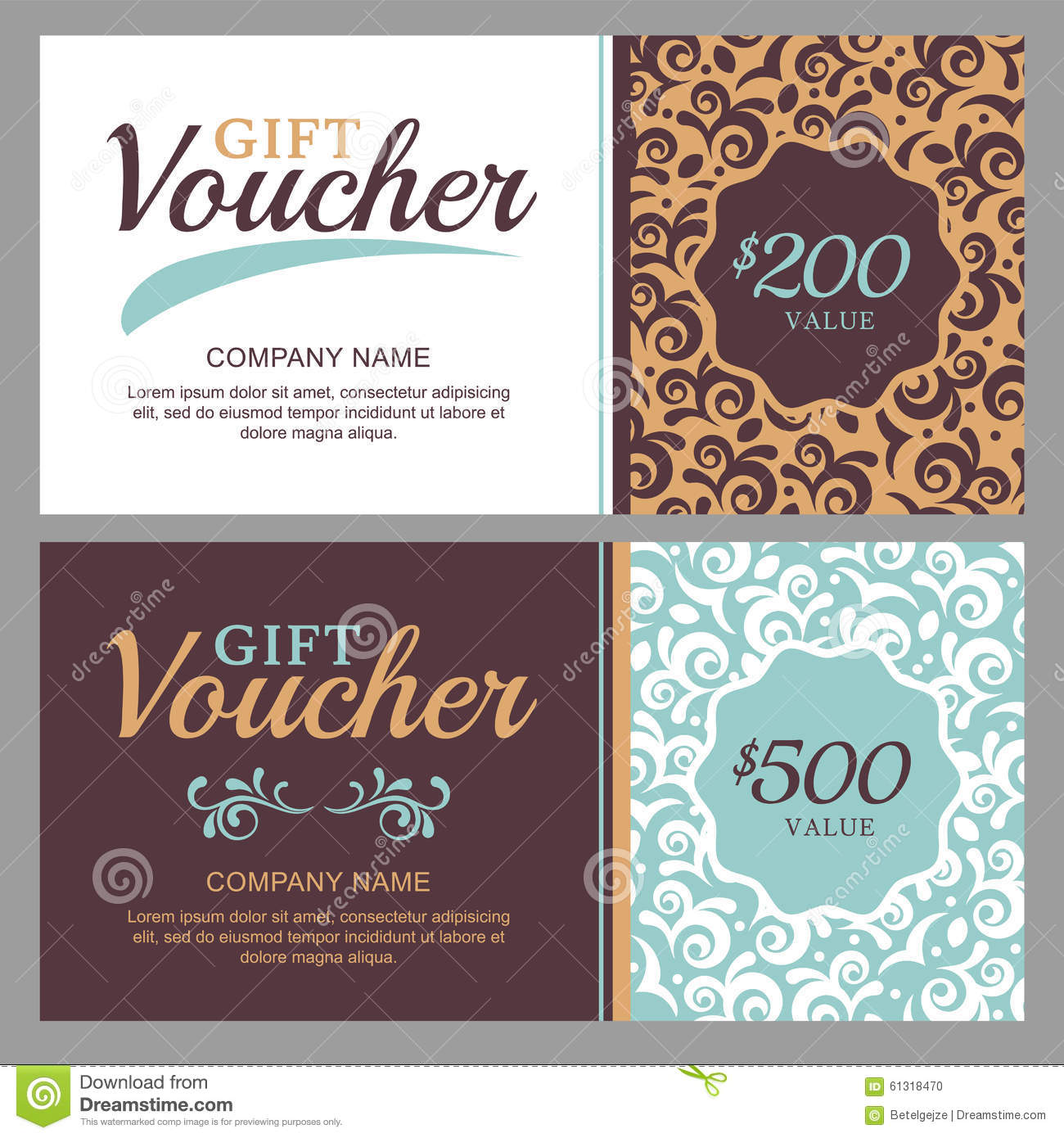 Vector Gift Voucher With Vintage Ornament Background Stock Vector Illustration Of Banner Gift 61318470