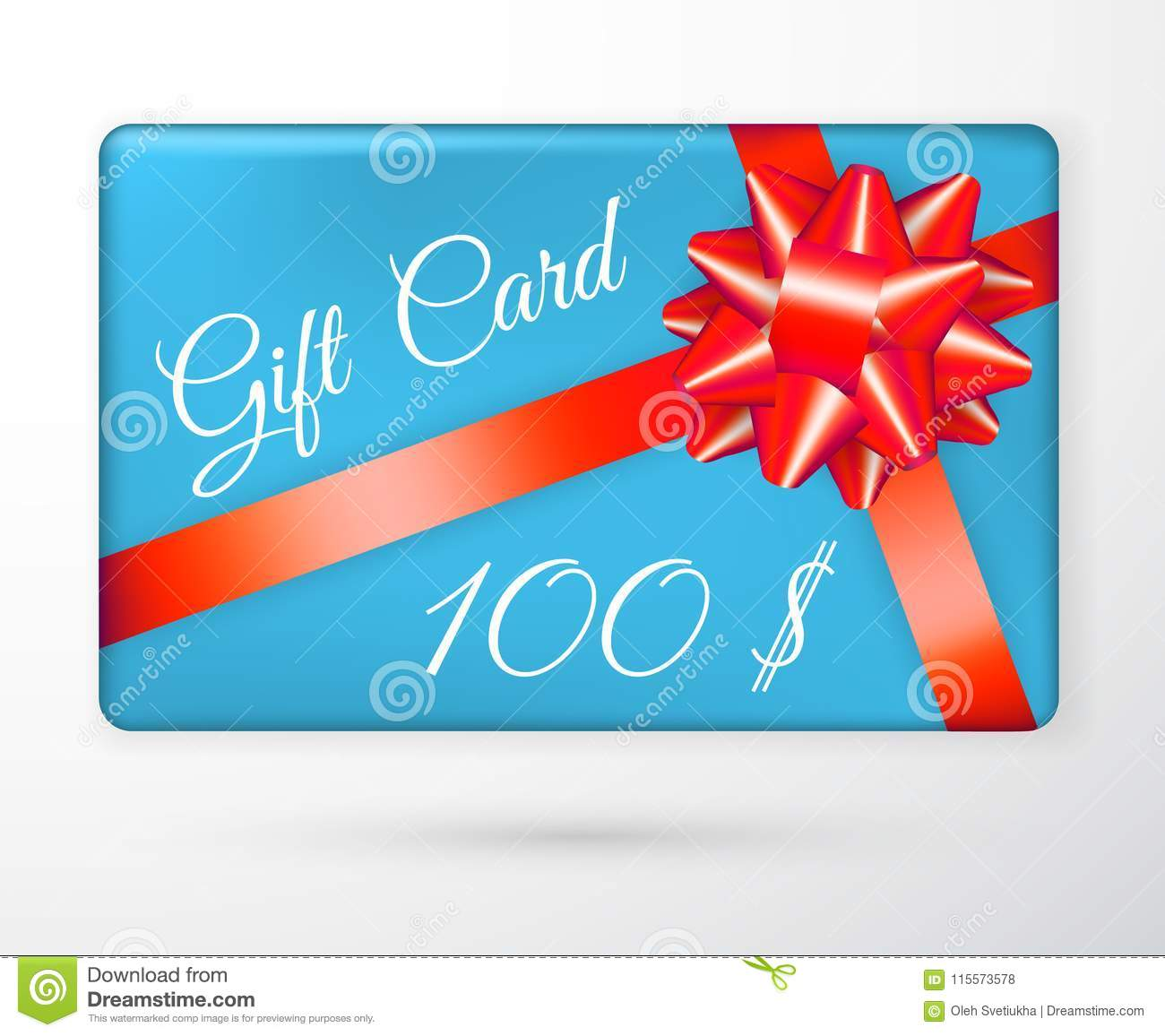 Vector Gift Vouchers With Bow Red Ribbons, And Blue Backgrounds ...