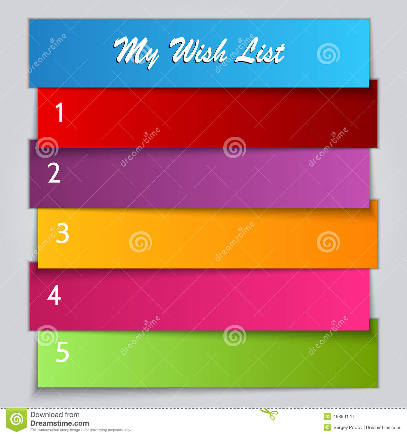 birthday gift list template - vector gift wish list template stock photo image 46894170