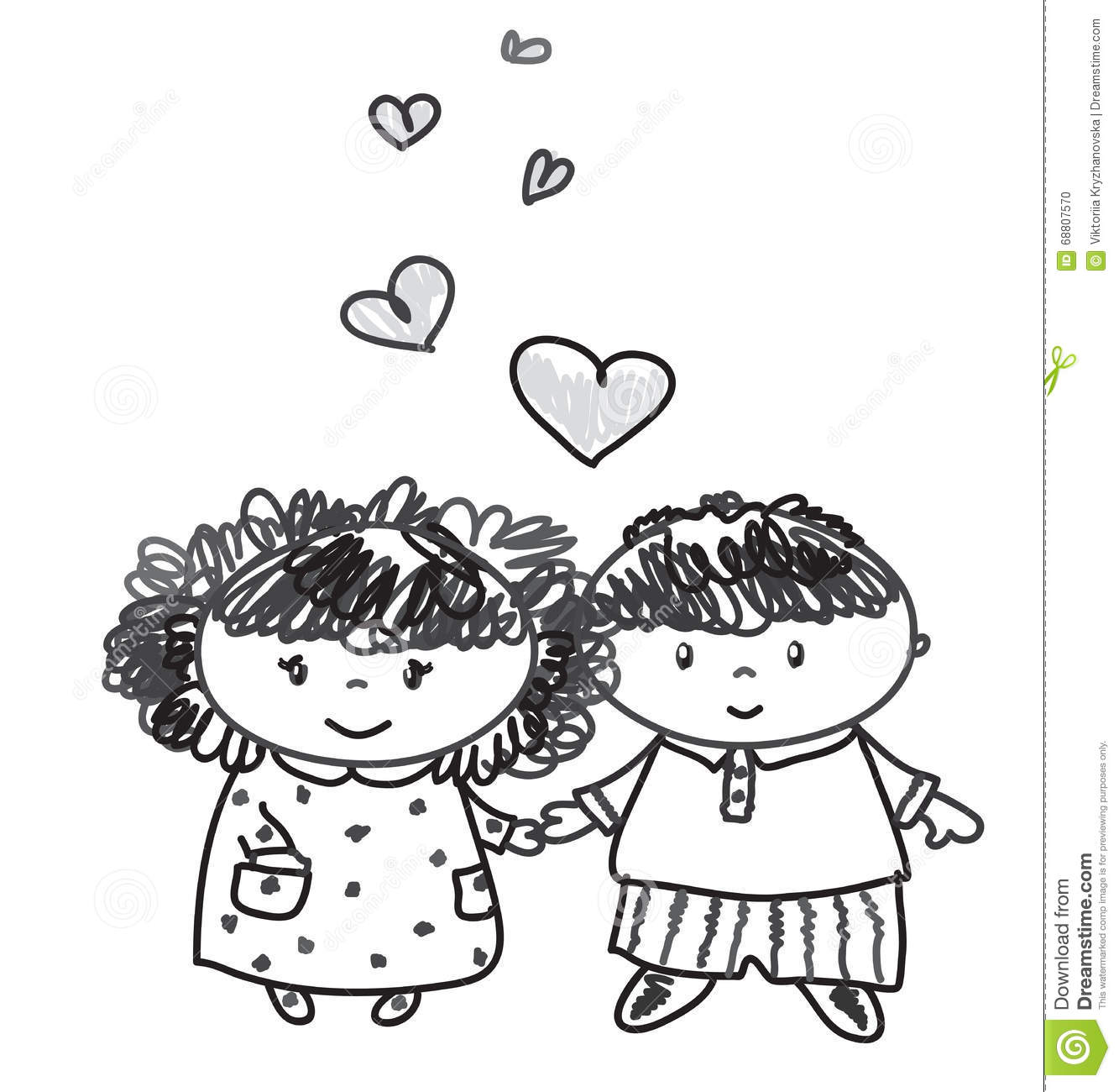 Vector Girl And Boy Cartoons Stock Vector Illustration Of