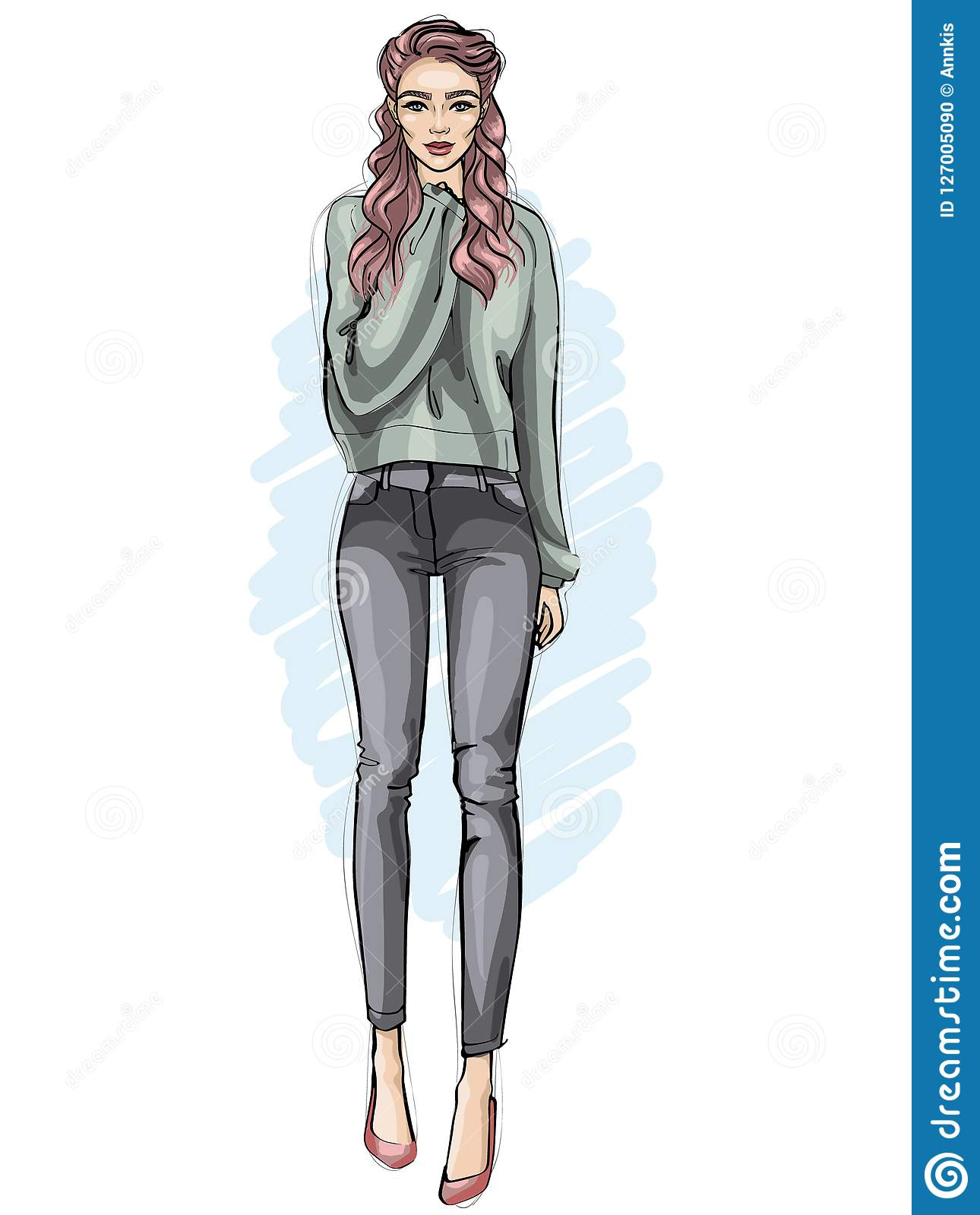 Vector Girl Dressed In Jeans, Sweater And Shoes, Hand