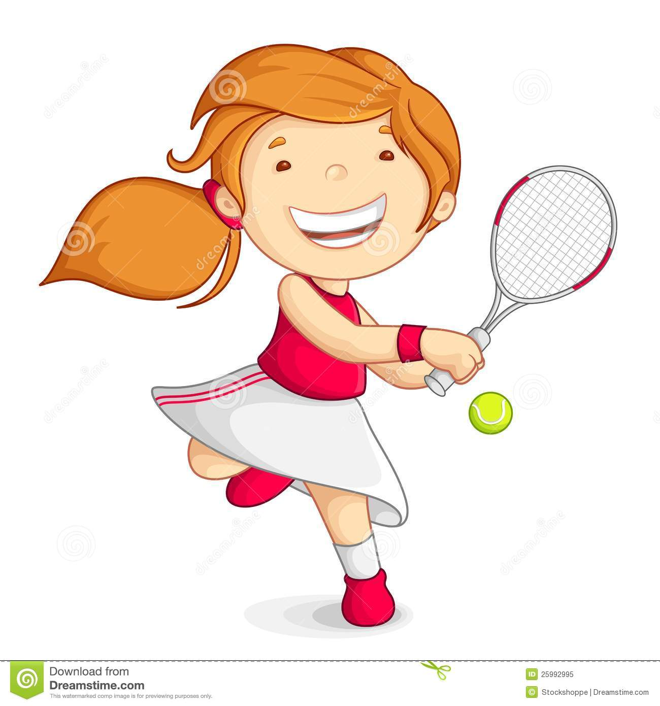 Vector Girl Playing Tennis Stock Vector Illustration Of