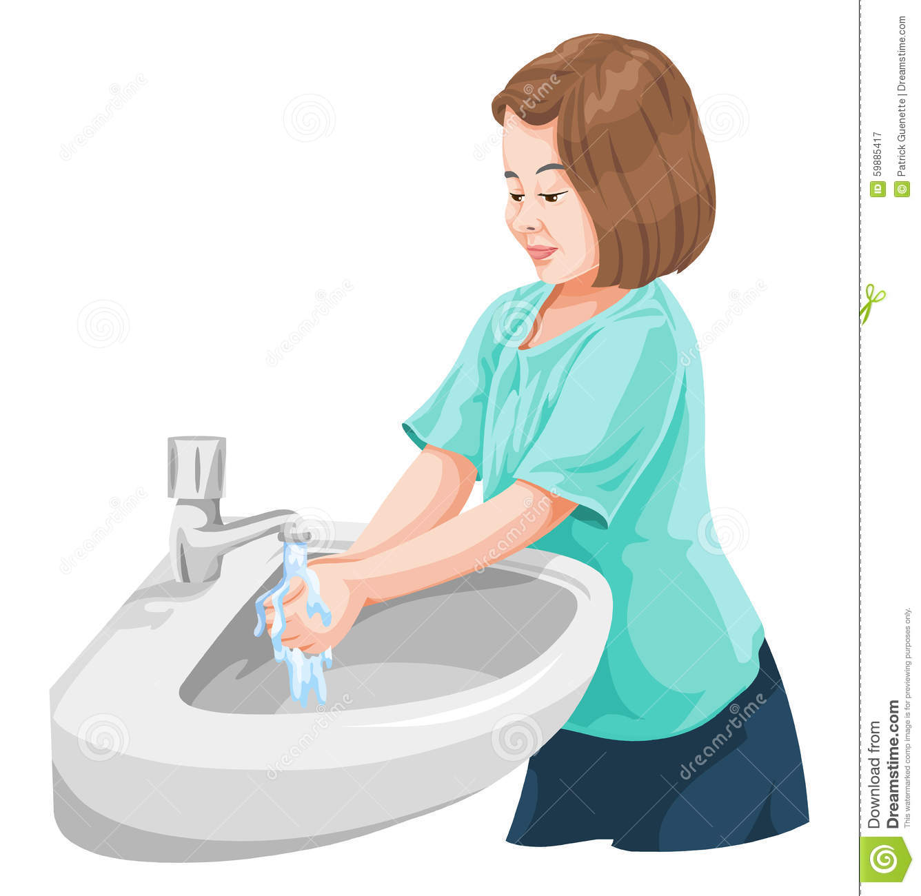 Vector of girl washing hands in wash basin.