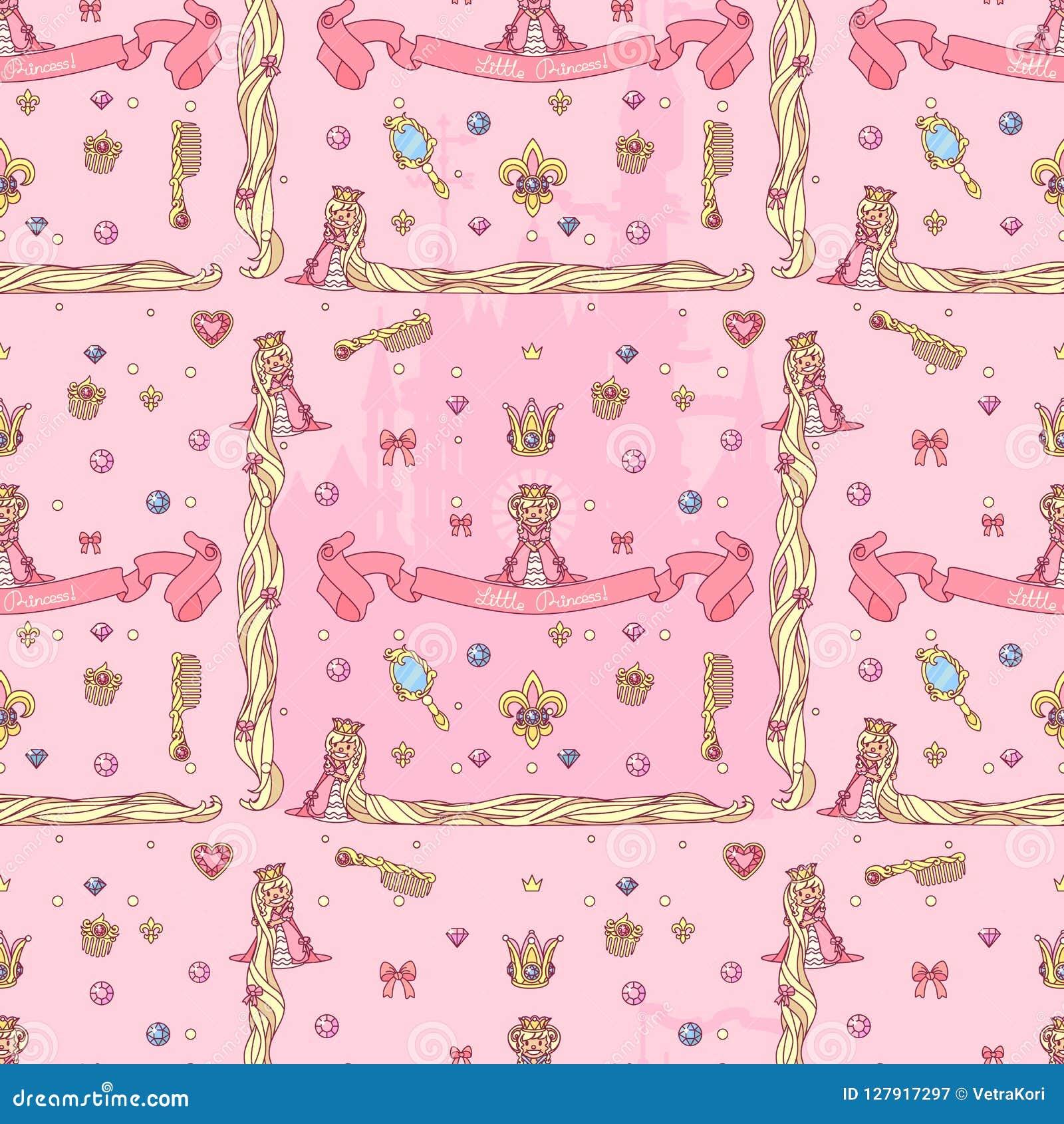 Vector girlish seamless pattern