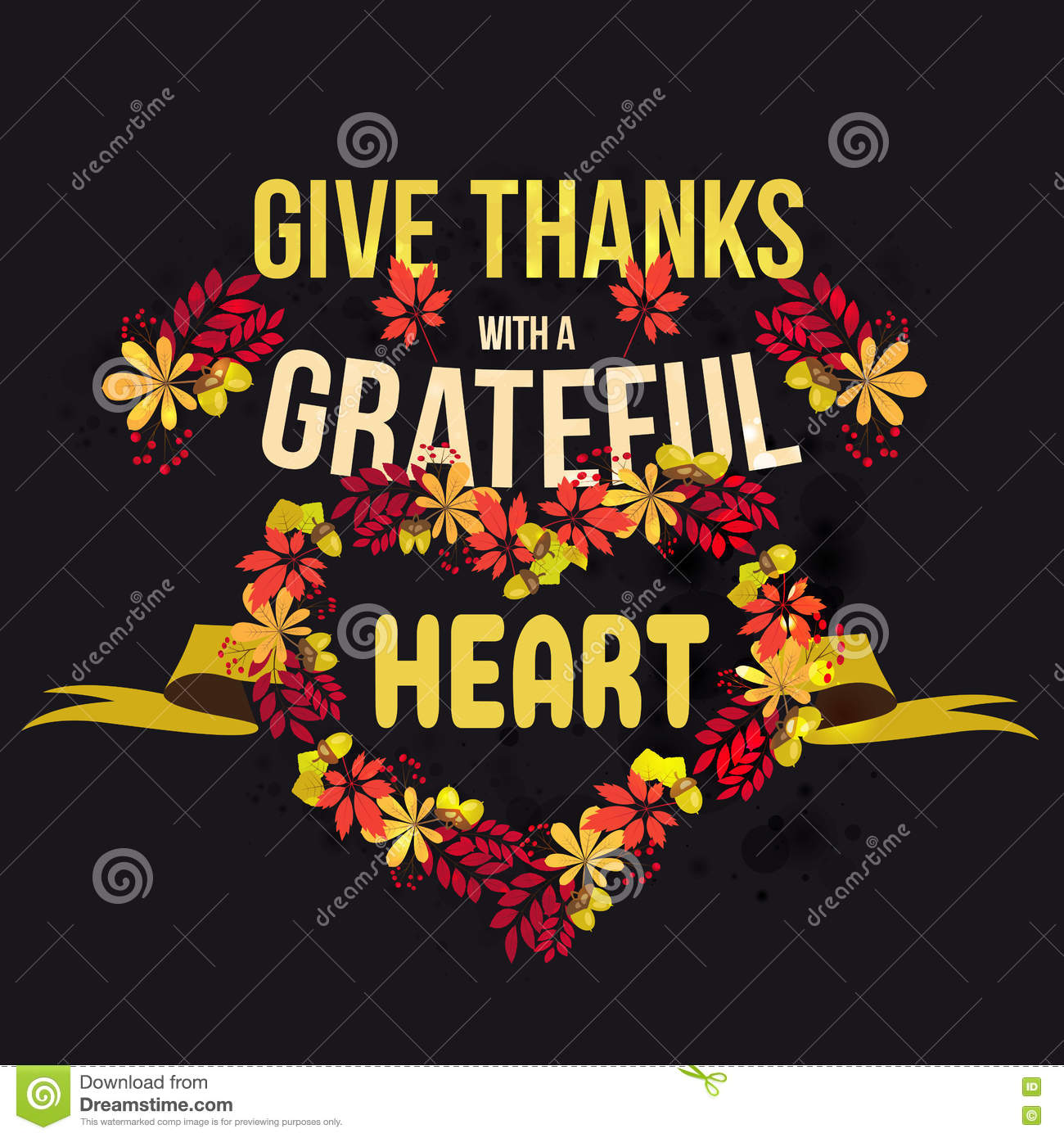 Vector Give Thanks With A Grateful Heart. Happy Thanksgiving Day ...