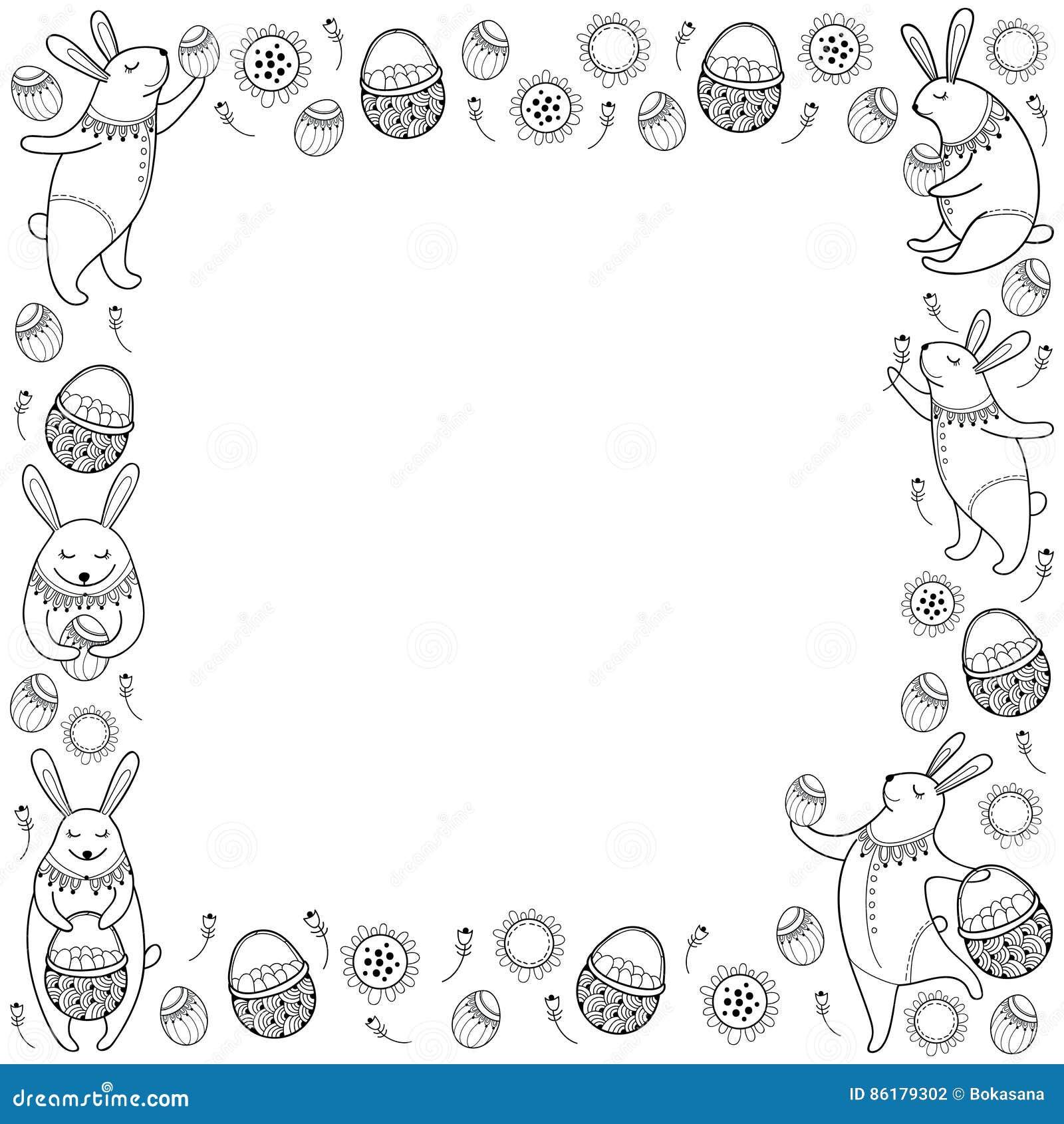 Vector Glücklichen Ostern-Rahmen Mit Entwurfsostern-Kaninchen, -ei ...