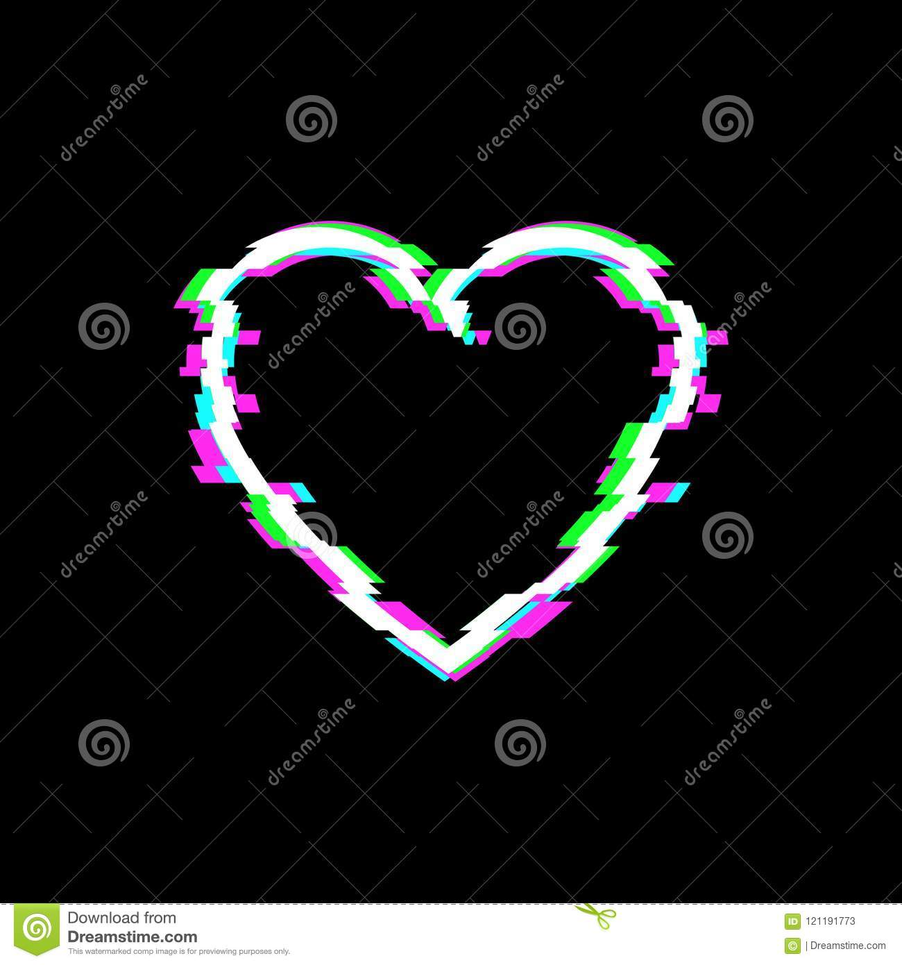 Vector Glitch Heart Icon, Technology Illustration Background, White Love Symbol.