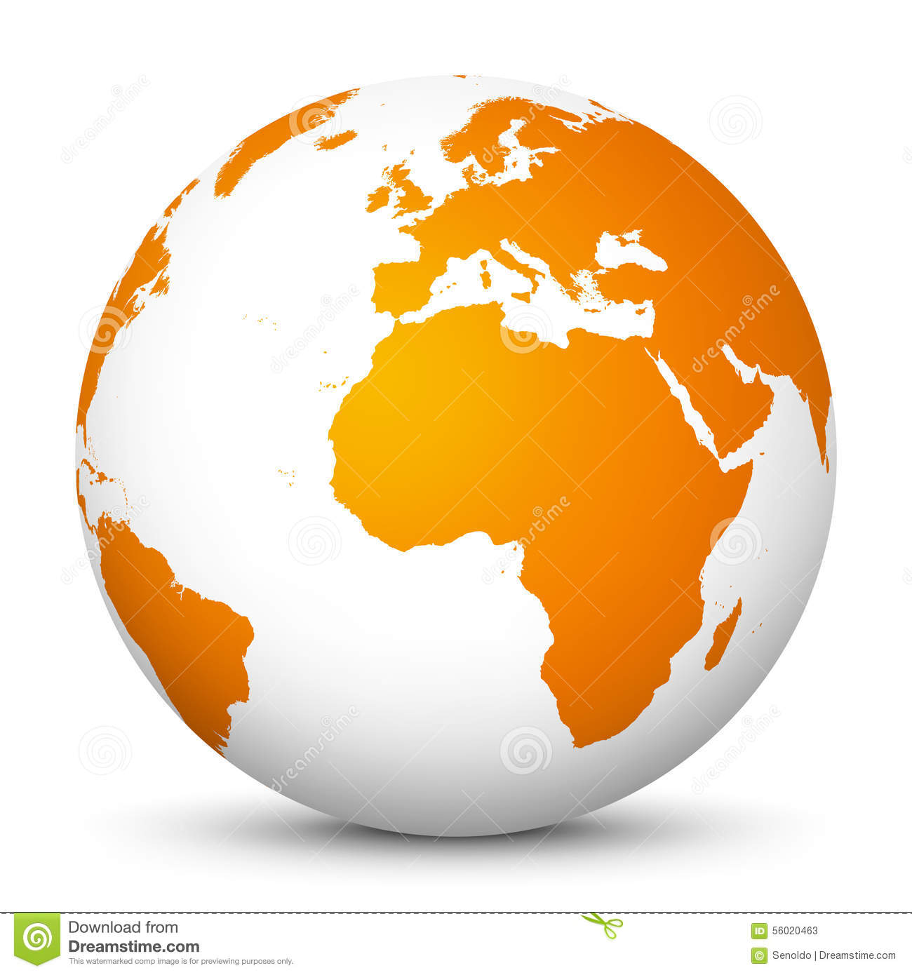 White Vector Globe Icon With Orange Continents - Planet ...