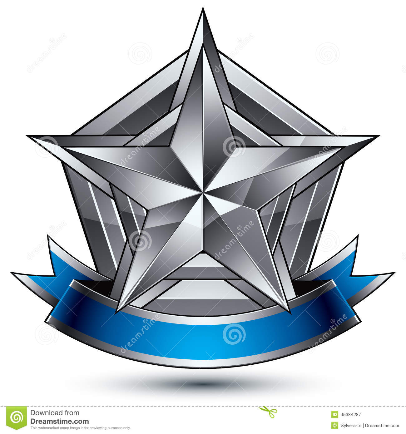 Vector Glorious Glossy Design Element, 3d Silver Star Stock