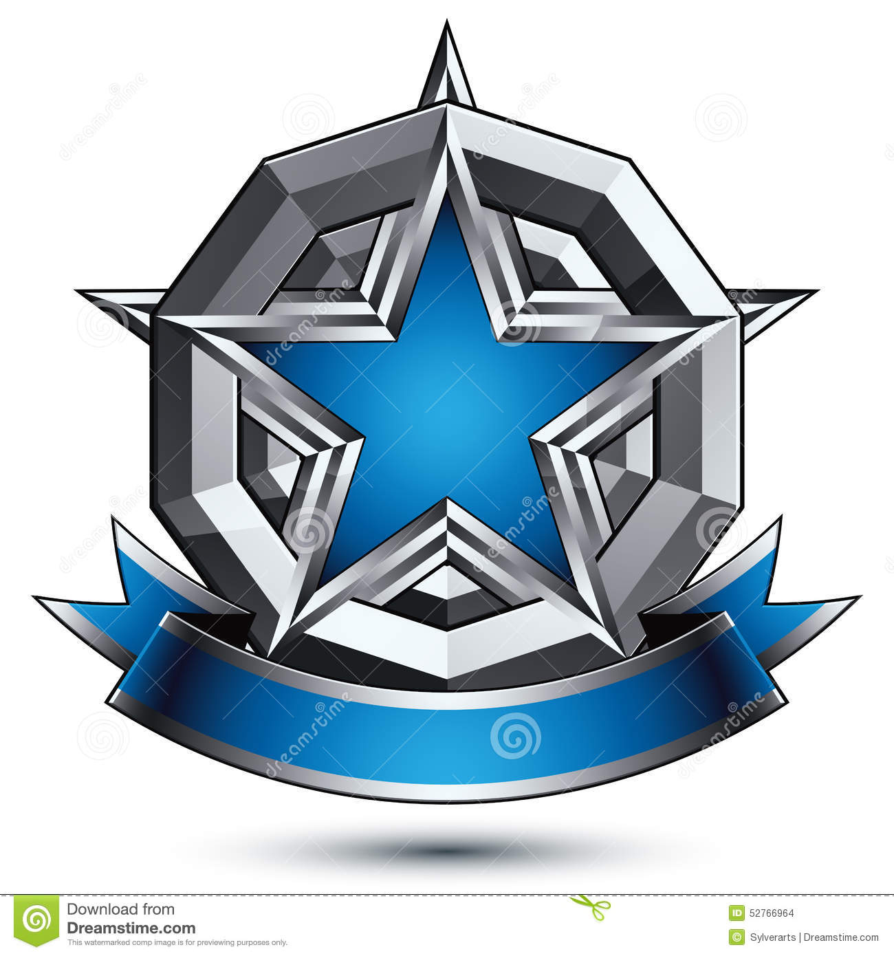 Vector Glorious Glossy Design Element, Luxury Blue 3d Star