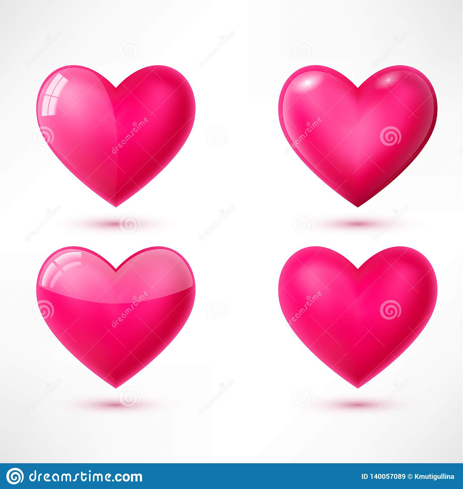 Vector glossy hearts with shadows