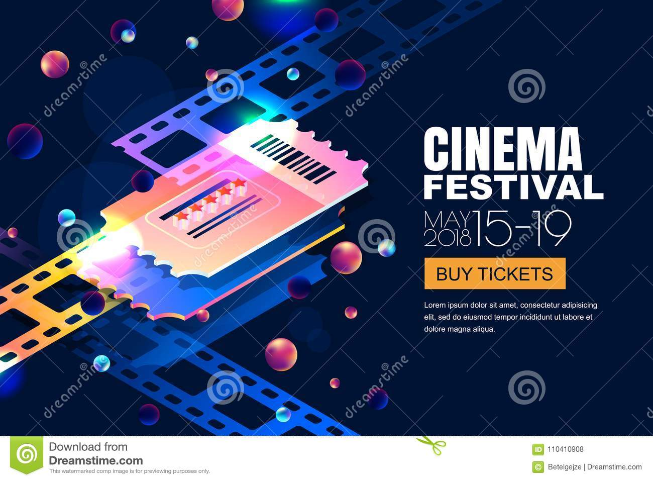 Vector glowing neon cinema festival banner. Cinema tickets in 3d isometric style on abstract night cosmic sky background