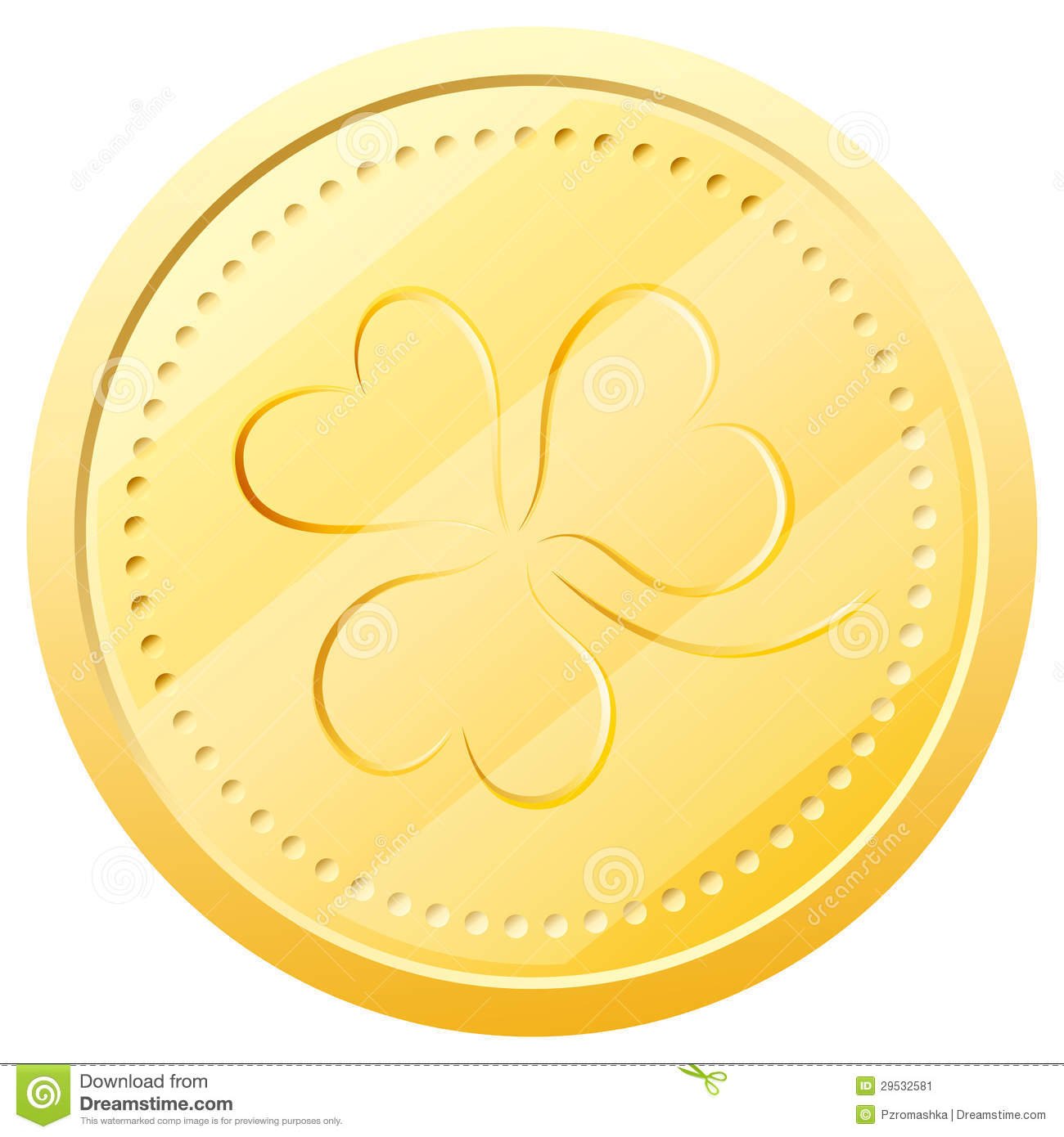 Vector Gold Coin With Clover Symbol Of St Patric Stock