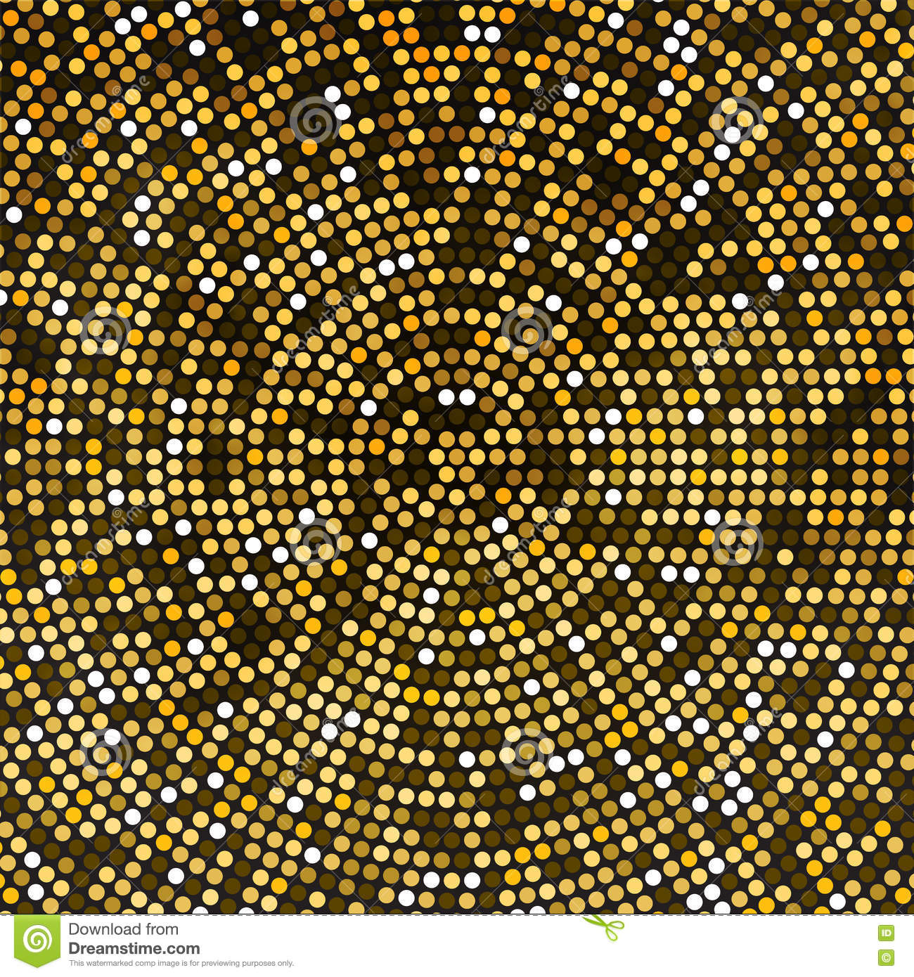 Vector Gold Disco Lights Background. Round Golden Mosaic ...