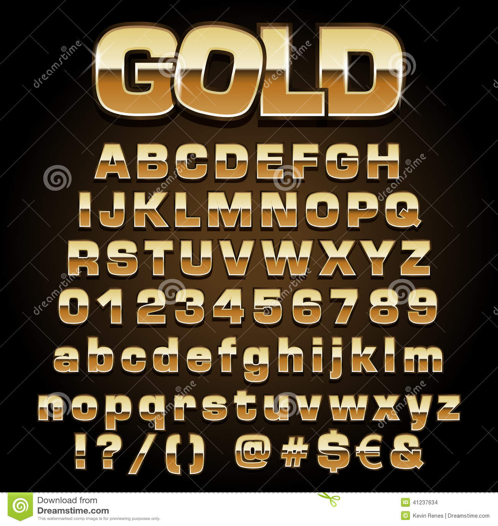 Vector gold font stock vector  Illustration of illustration