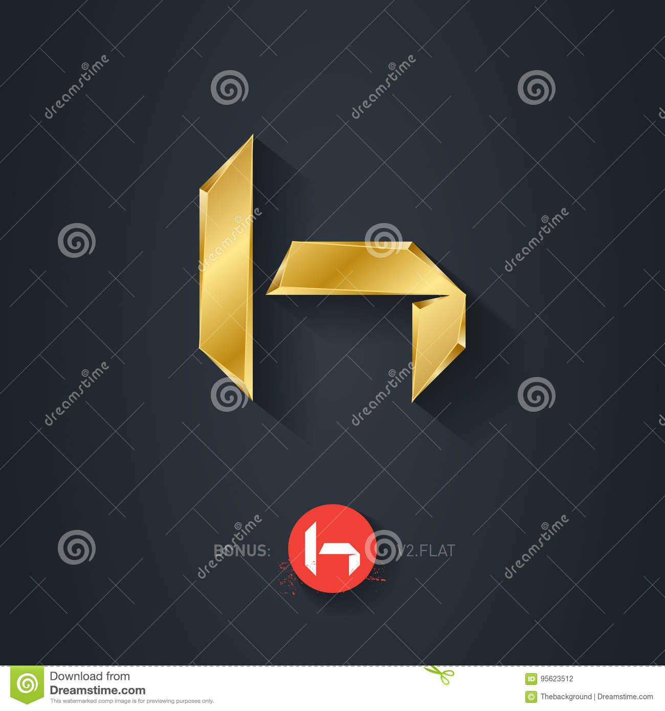 Vector Gold Font Letter H Elegant Template For Company Logo Pseudo Origami Style Including Flat Version 3d Metallic Design Element Or Icon
