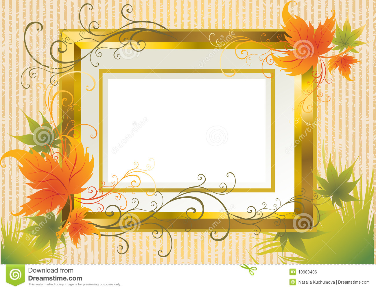 Vector Gold Frame With Autumn Leafs. Thanksgiving Stock Vector ...