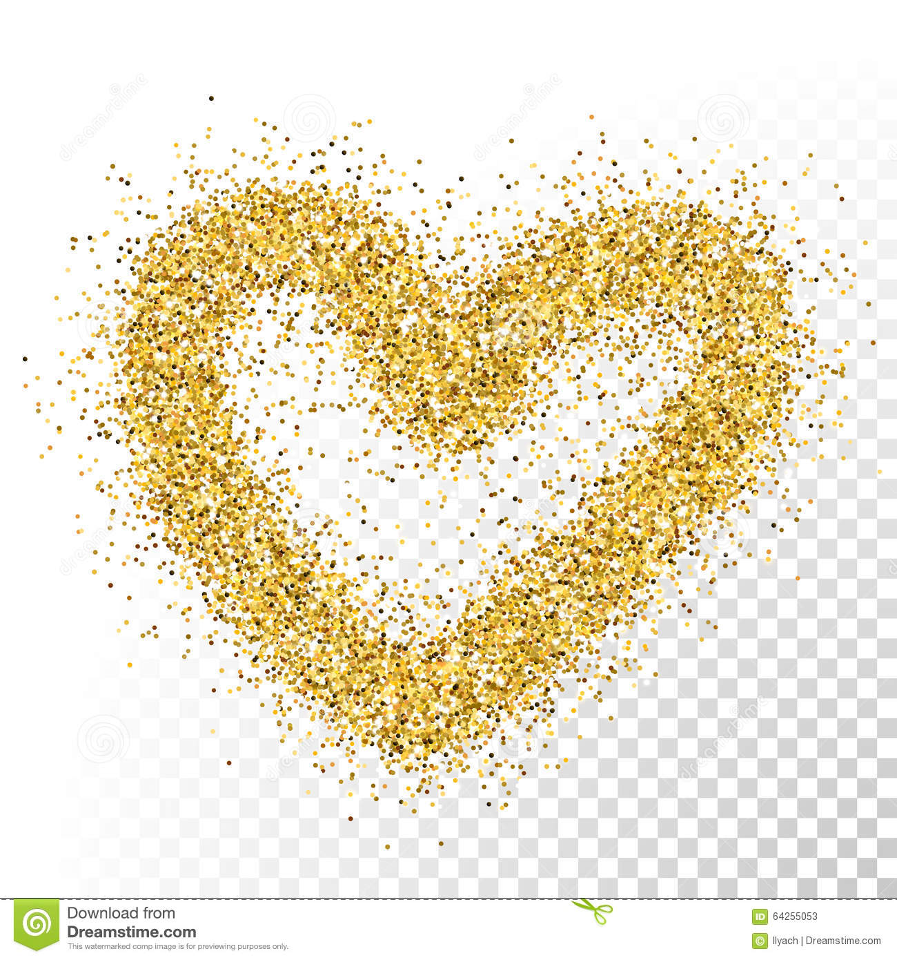 Gold glitter bright vector transparent background golden sparkles - Vector Gold Glitter Particles Heart Stock Photos