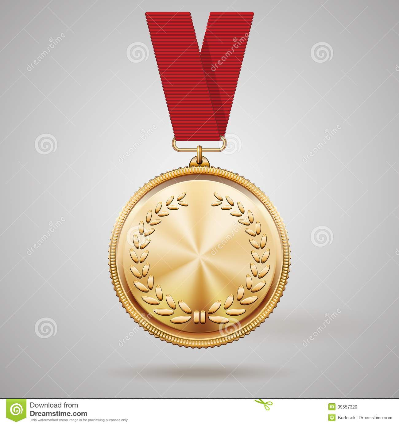 Vector Gold Medal On Red Ribbon Stock Vector ...