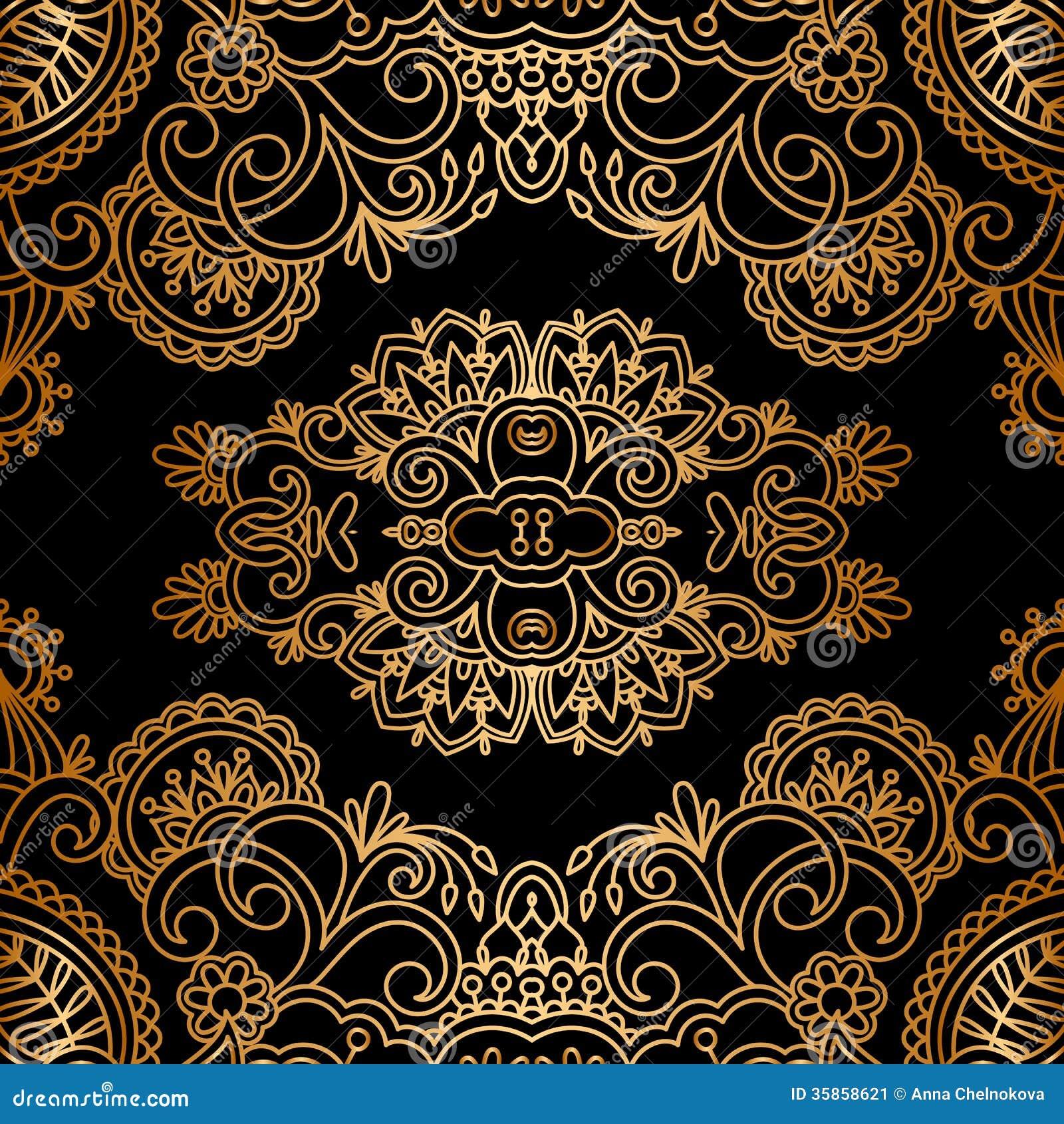 Vintage baroque floral golden ornament vector stock vector image - Vector Gold Ornament Stock Image Image 35858621