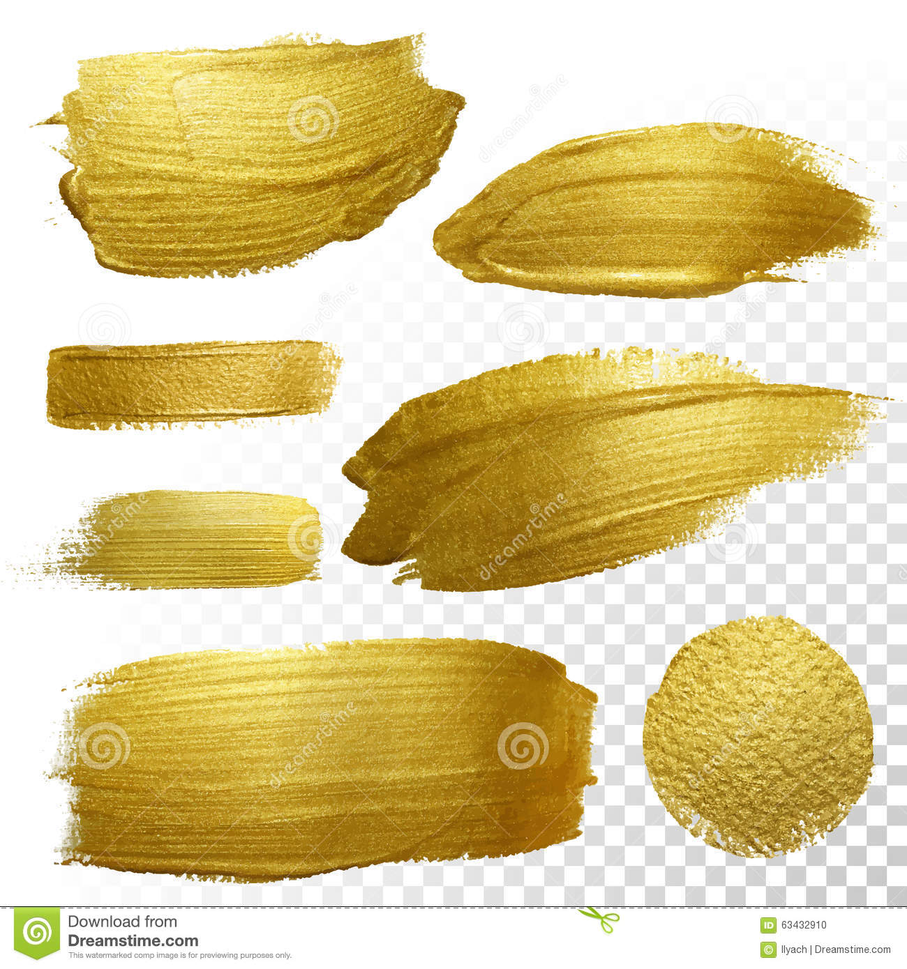 Vector gold paint smear stroke stain set.