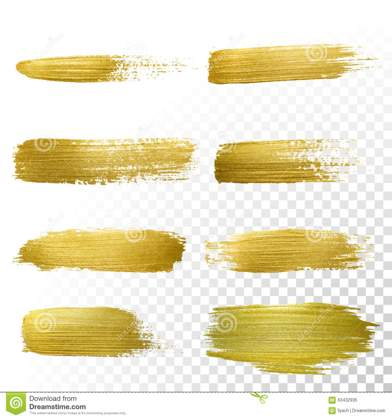 Grunge Stain Collection: Vector Gold Paint Smear Stroke Stain Set. Stock Vector