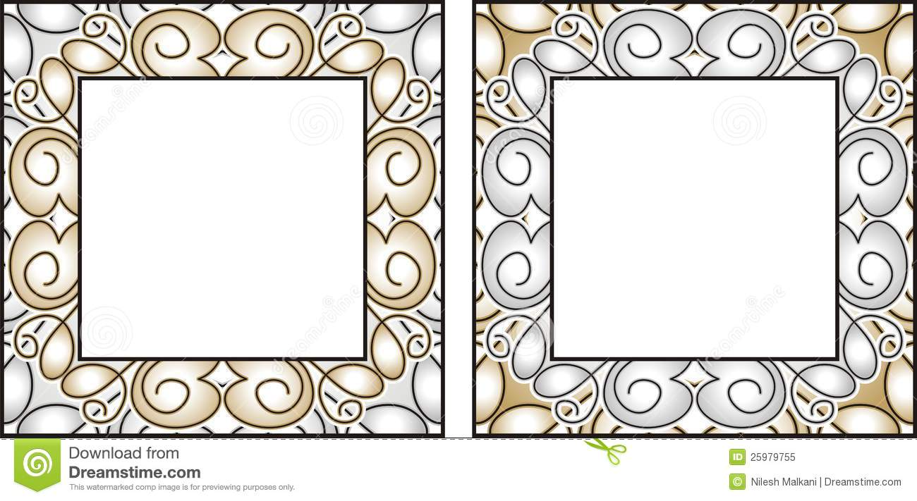 vector gold and silver frames