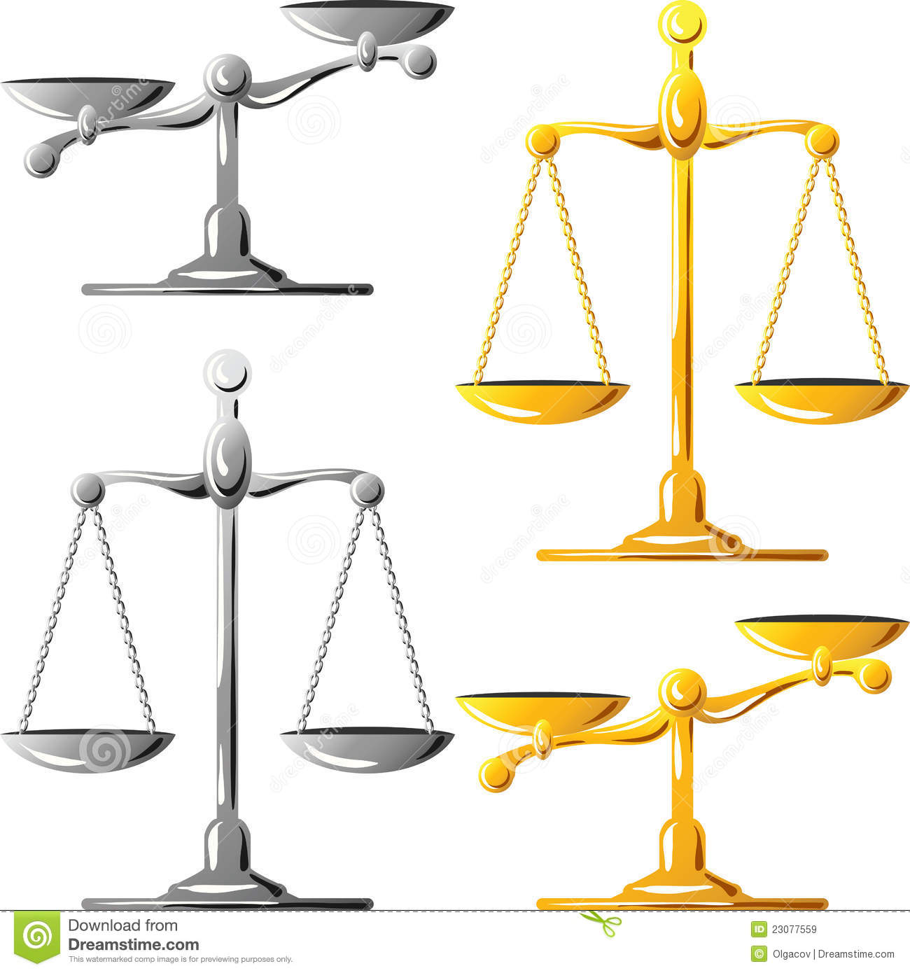 Royalty Free Stock Images  Vector Gold and silver scales of justiceUnbalanced Scale Of Justice Vector