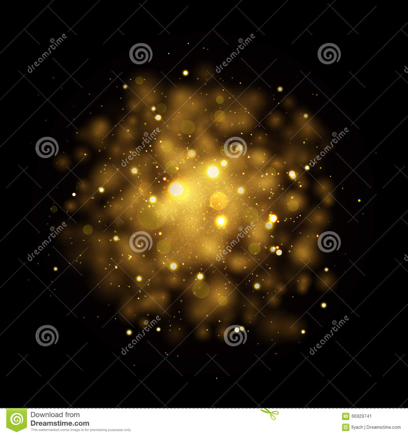 Vector Gold Star Sparkles In Space. Glittering Shining ...
