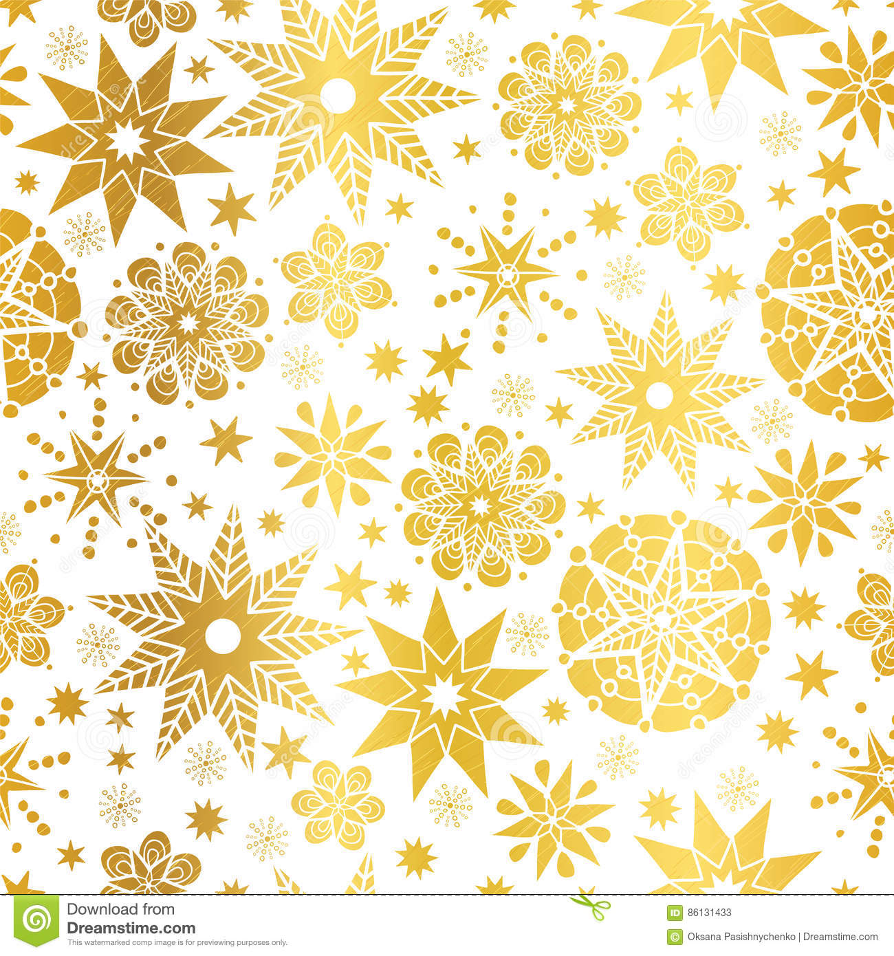 Vector Golden Abstract Doodle Stars Seamless Pattern ...