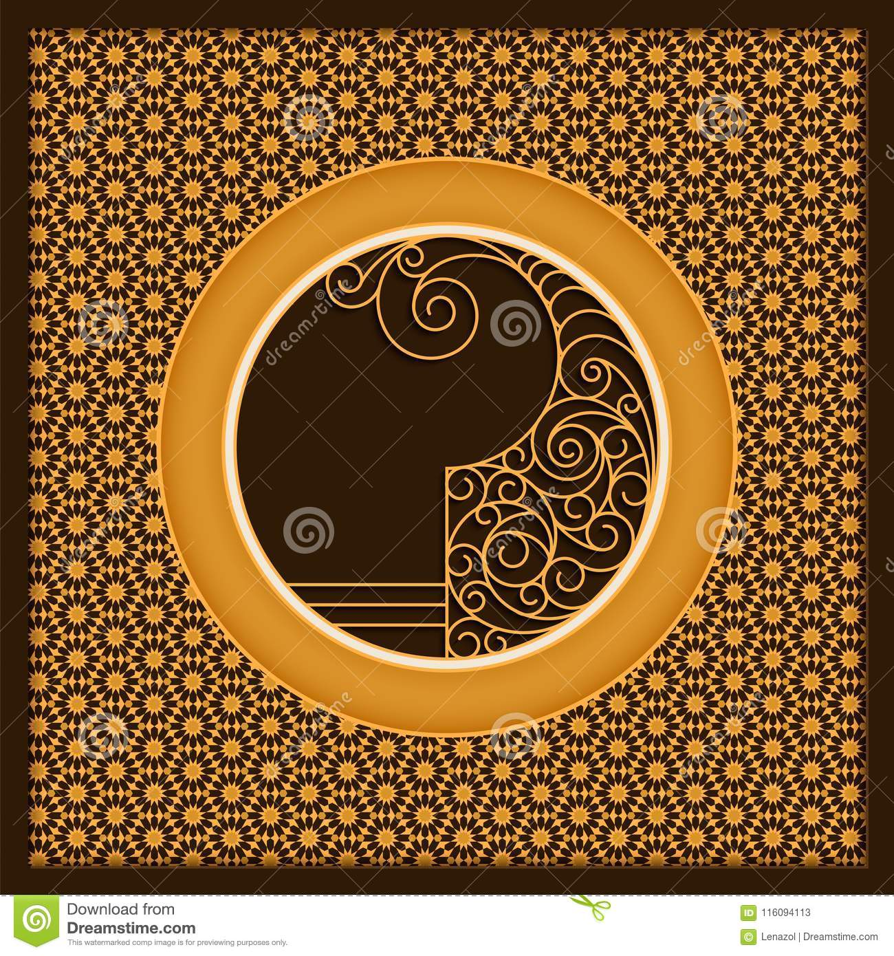 vector golden arabic card template with ornamented circles and