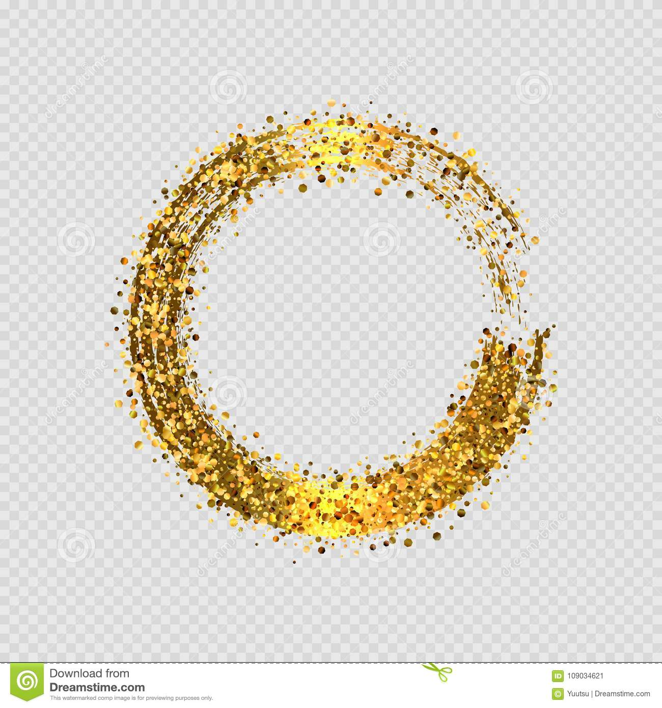 e7123192938 Vector eps 10 shiny golden glitter round decorative frame design isolated  on transparent background