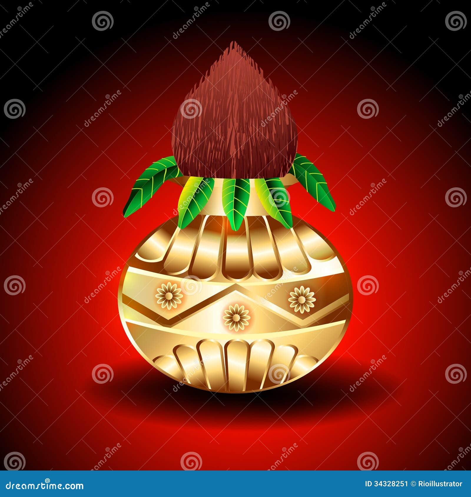 Vector Golden Kalash Stock Image - Image: 34328251