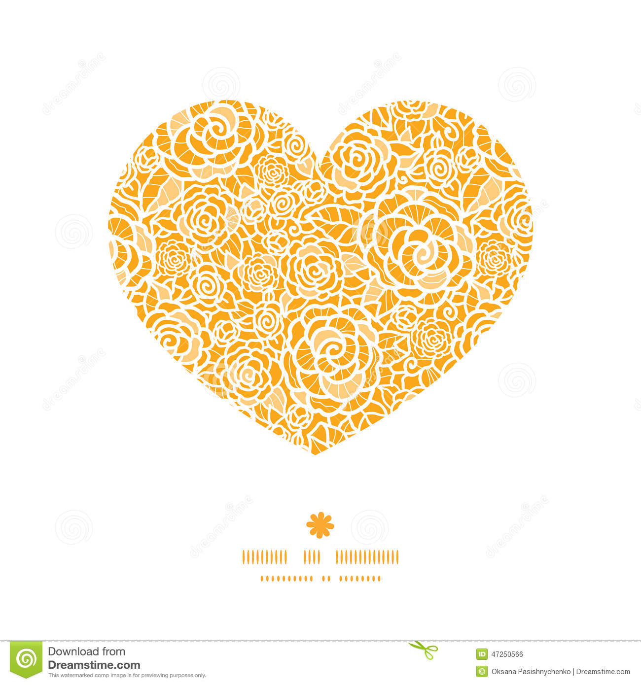 Vector Golden Lace Roses Heart Silhouette Pattern Stock