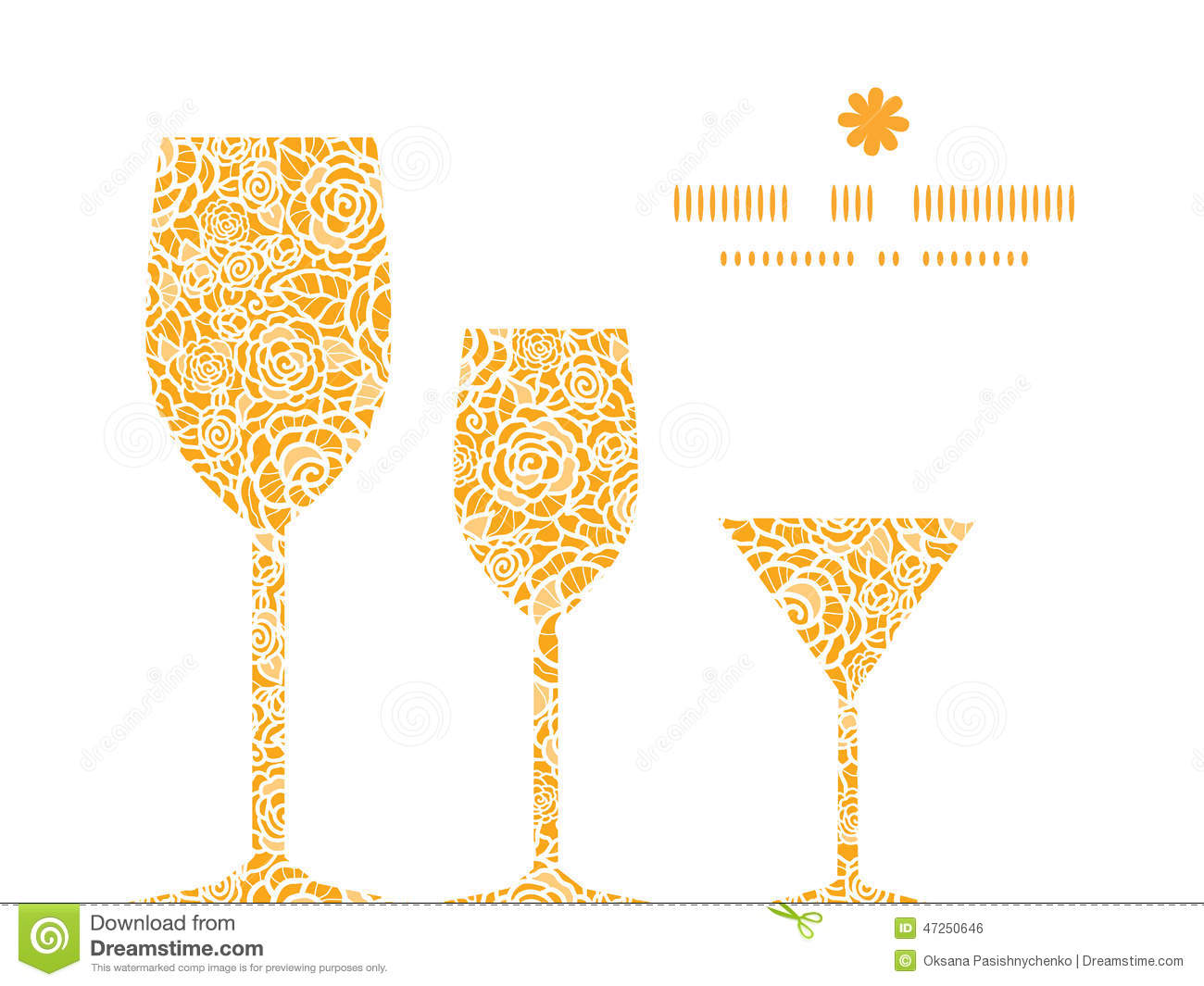 Vector Golden Lace Roses Three Wine Glasses Stock Vector